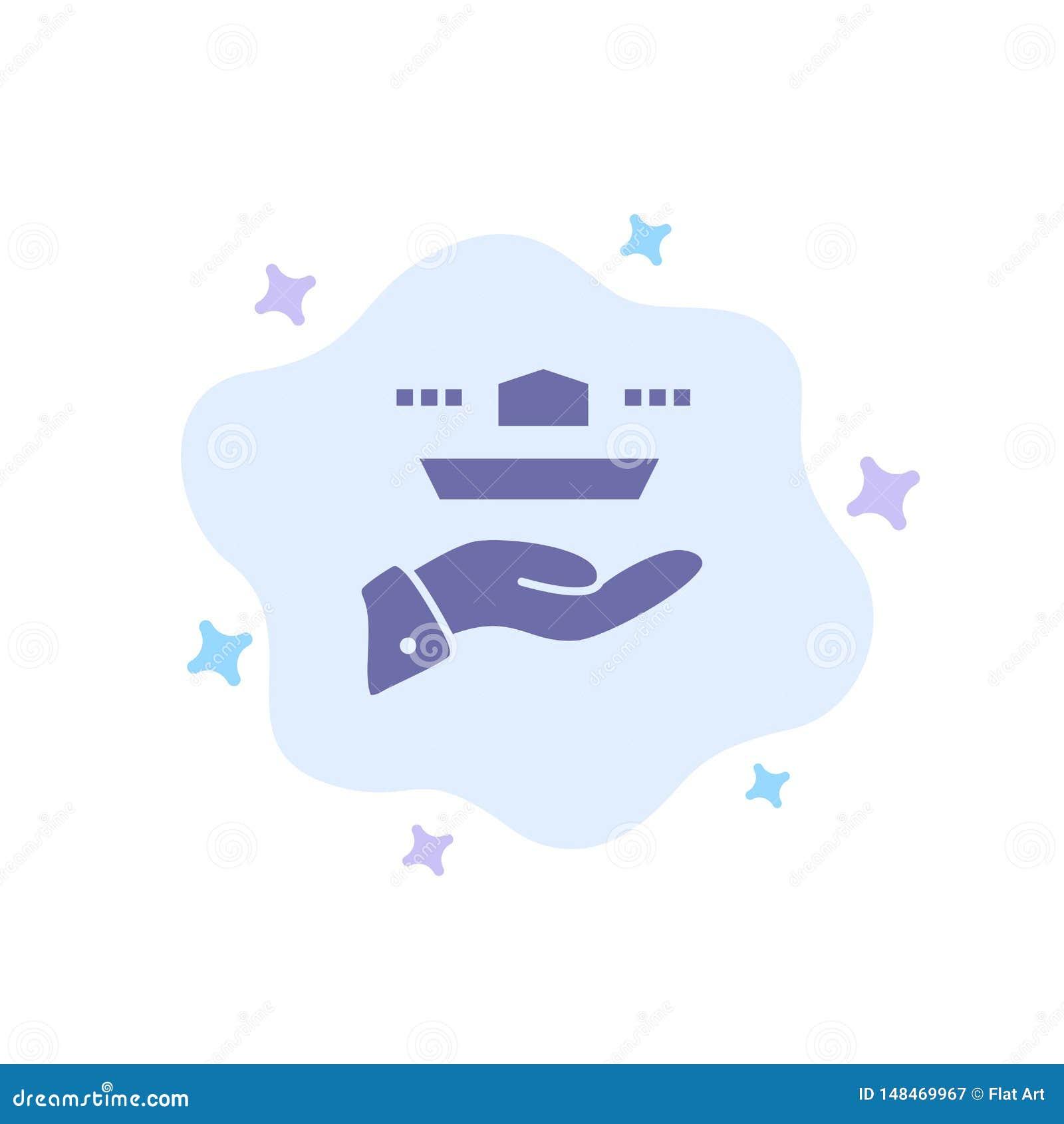 Ο σερβιτόρος, εστιατόριο, εξυπηρετεί, μεσημεριανό γεύμα, μπλε εικονίδιο γευμάτων στο αφηρημένο υπόβαθρο σύννεφων