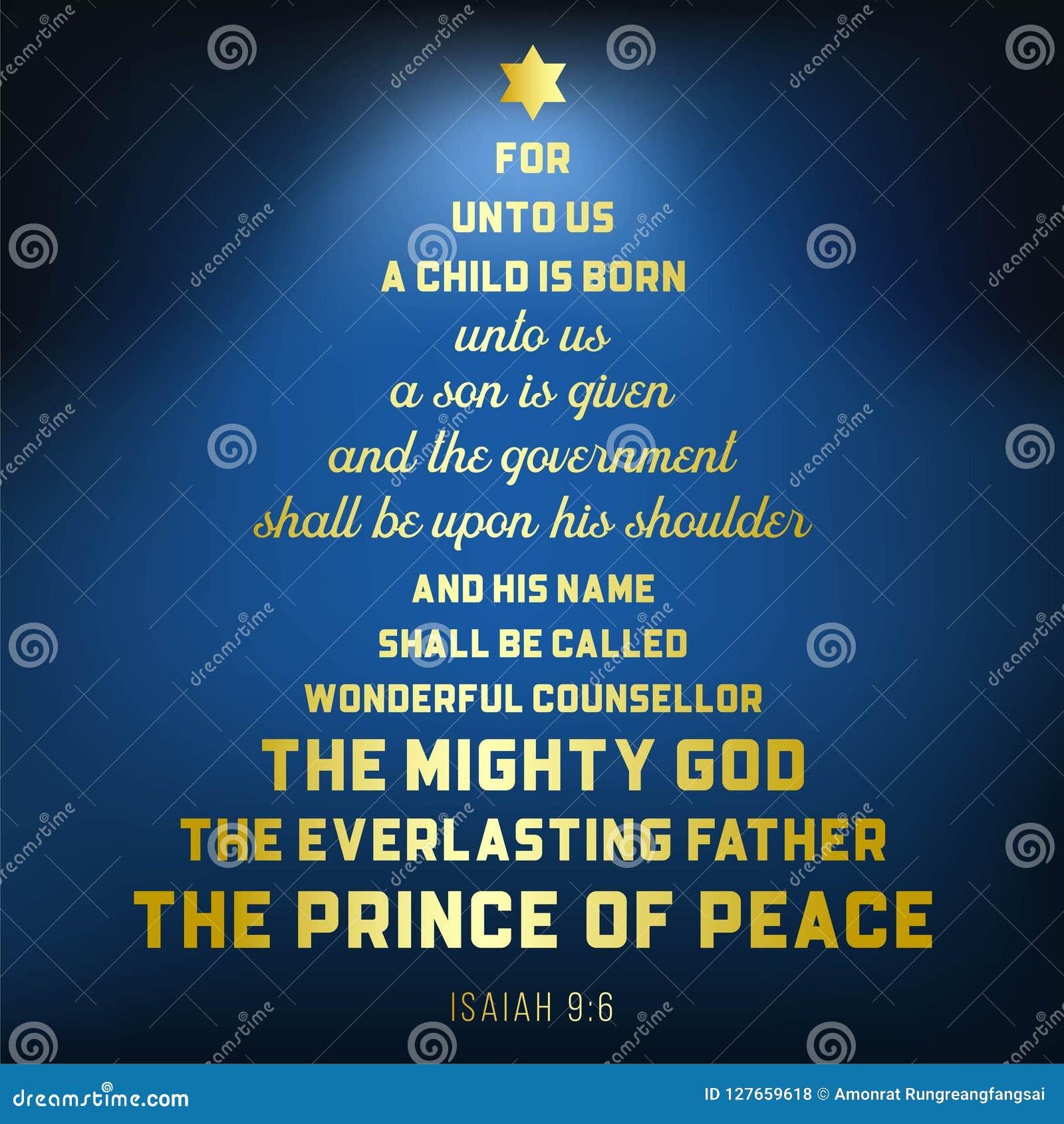 Ο στίχος Βίβλων από το Isaiah 9:6 για τον Ιησού Χριστό, ένα παιδί γεννιέται