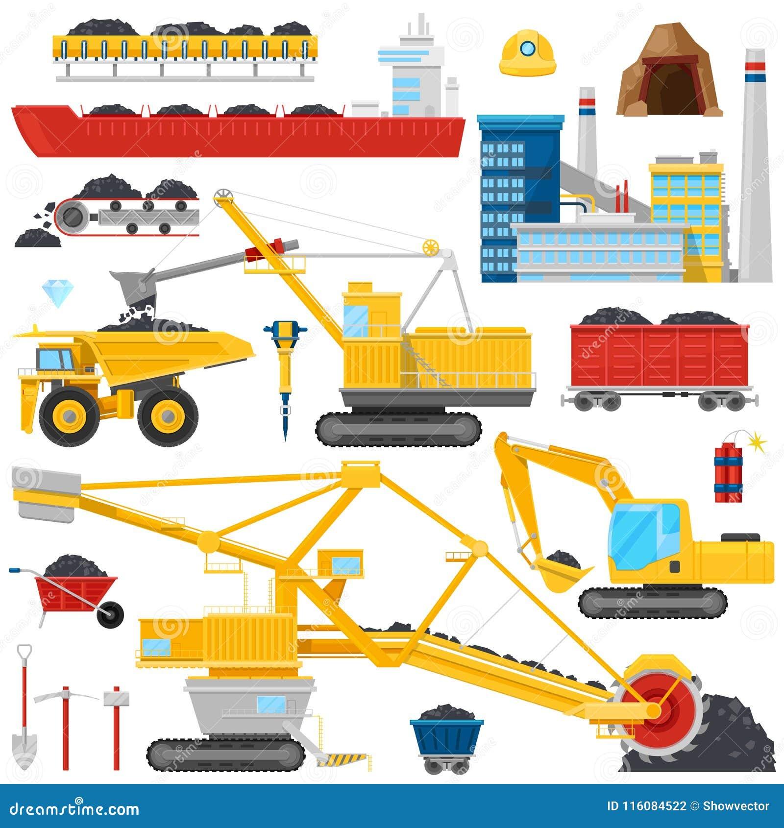 Ο του άνθρακα διανυσματικά βιομηχανικά εξοπλισμός ή τα μηχανήματα στο ορυχείο τροφοδοτεί το σύνολο απεικόνισης σκόνης άνθρακα βαρ