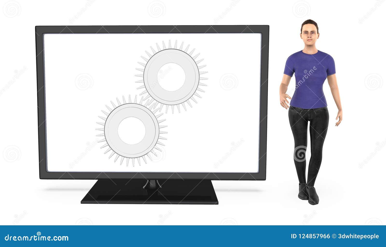 ο τρισδιάστατος χαρακτήρας, γυναίκα που στέκεται κοντά σε μια οθόνη οργάνων ελέγχου με cogwheel σε σε το τσίμπημα, ρυθμίζει, τοπο