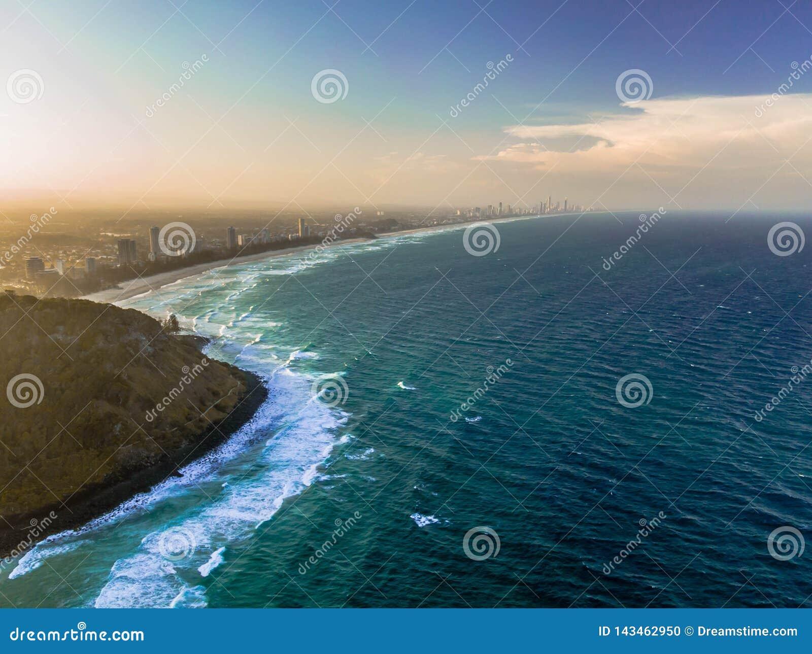 ο τρισδιάστατος ωκεανός δίνει το ηλιοβασίλεμα