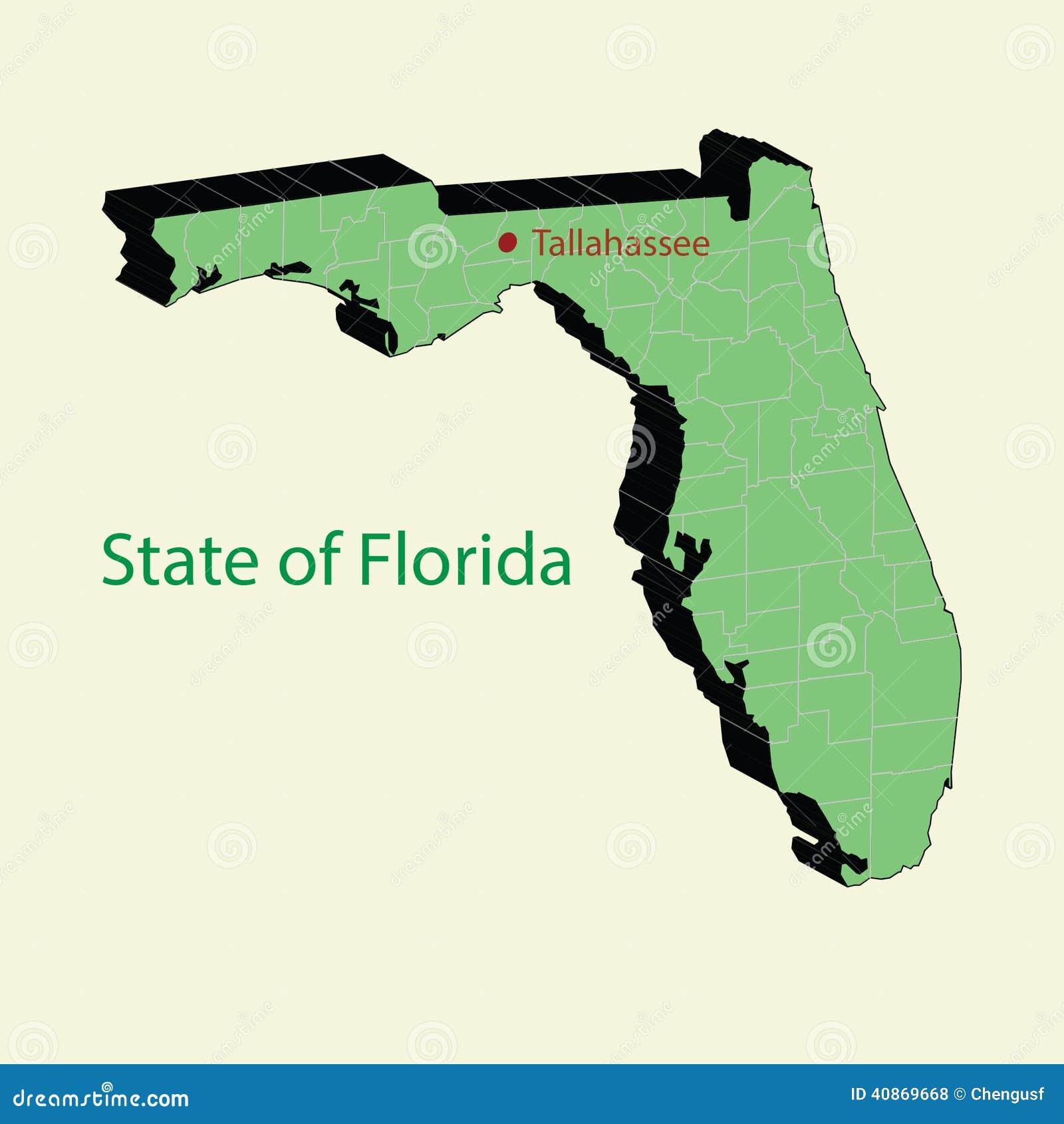 Ο τρισδιάστατος χάρτης του κράτους ΗΠΑ της Φλώριδας