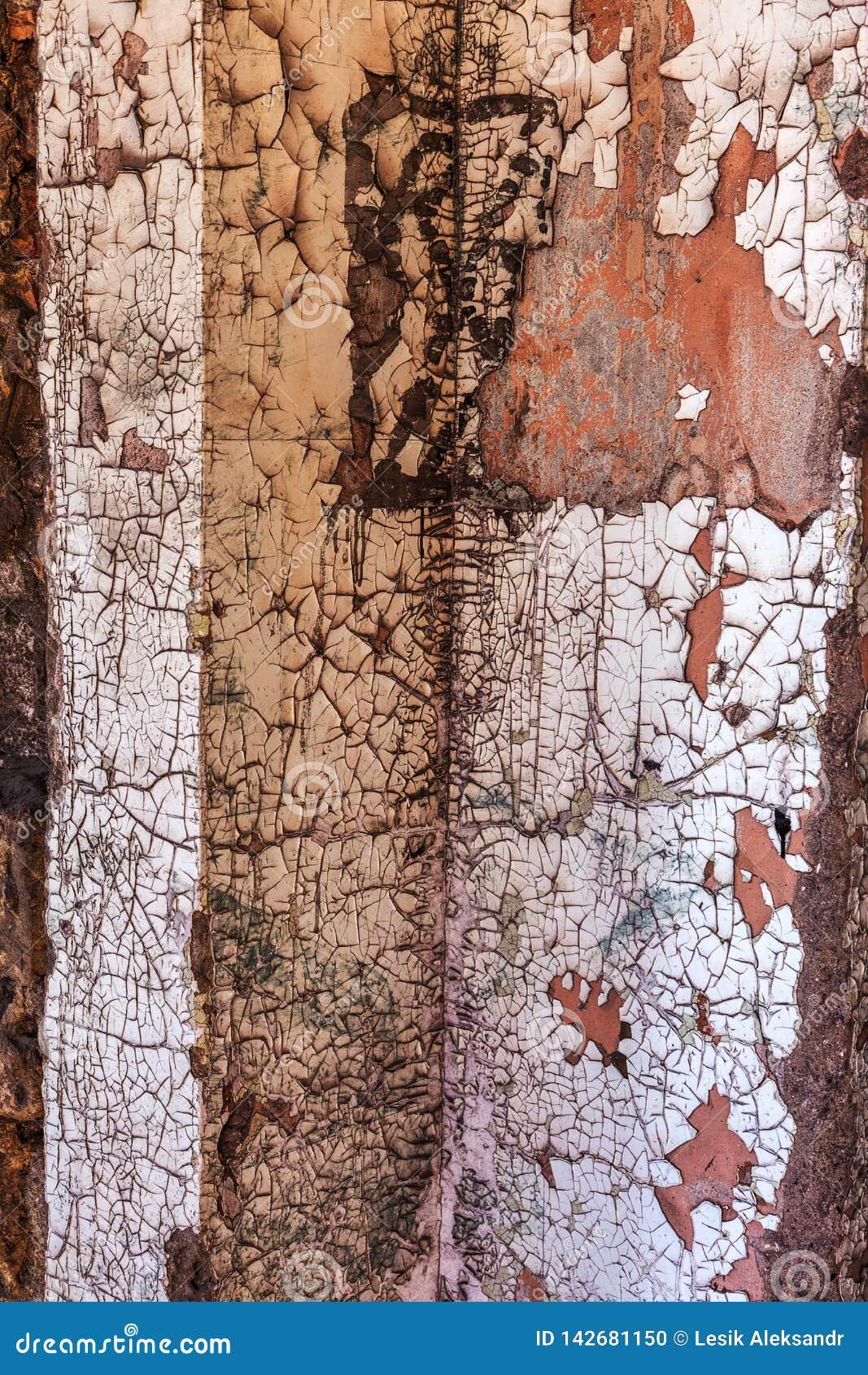 Ο τρύγος χρωμάτισε την ξύλινη σύσταση υποβάθρου του ξύλινου ξεπερασμένου αγροτικού τοίχου με το χρώμα αποφλοίωσης Κενό διάστημα γ