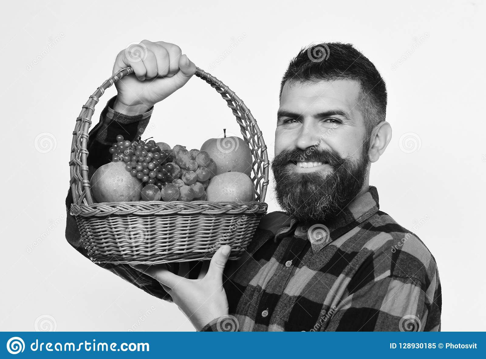 Ο τύπος κρατά ότι το homegrown άτομο συγκομιδών με τη γενειάδα κρατά το καλάθι φρούτων