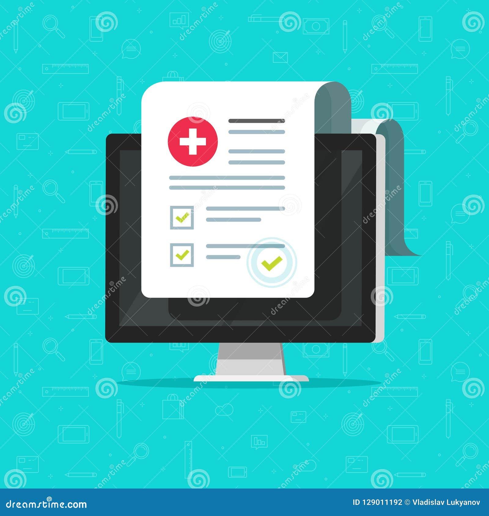 Ο υπολογιστής και η ιατρική μορφή απαριθμούν, στοιχεία αποτελεσμάτων και εγκεκριμένο έγγραφο πινάκων ελέγχου σημαδιών ελέγχου δια