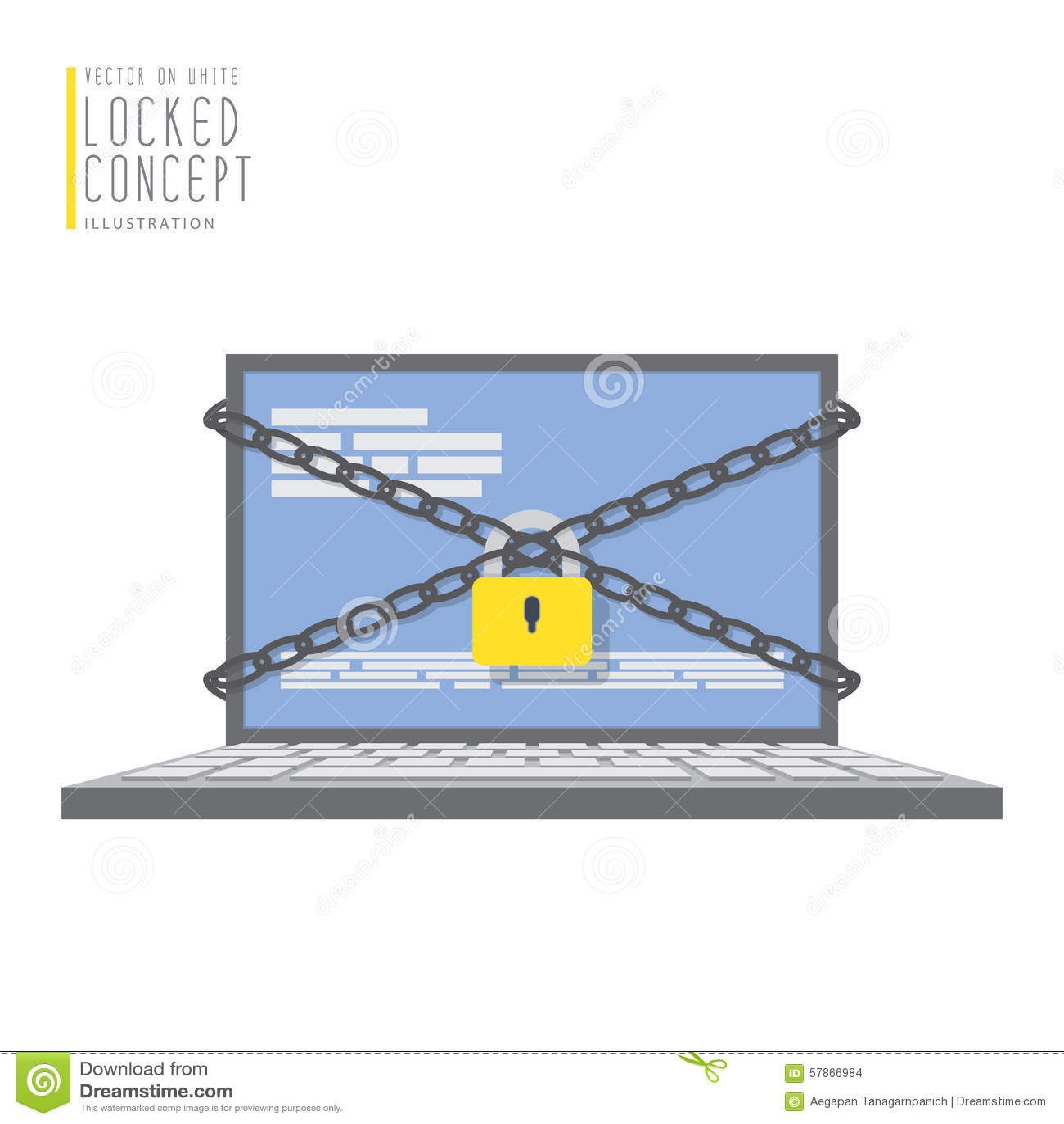 Ο φορητός προσωπικός υπολογιστής είναι συνδεδεμένος με τις αλυσίδες και κλειδωμένος με ένα λουκέτο
