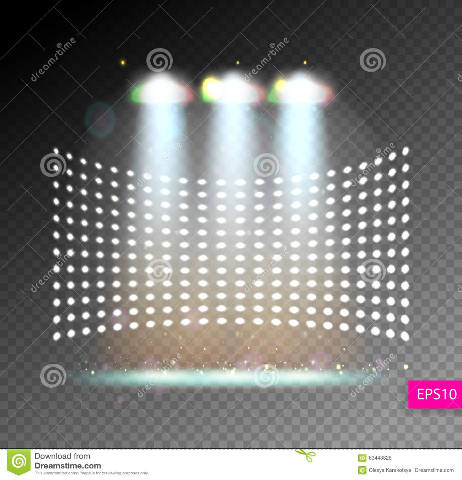 Ο φωτισμός σκηνής παρουσιάζει, φωτεινός φωτισμός με τα επίκεντρα, floodl