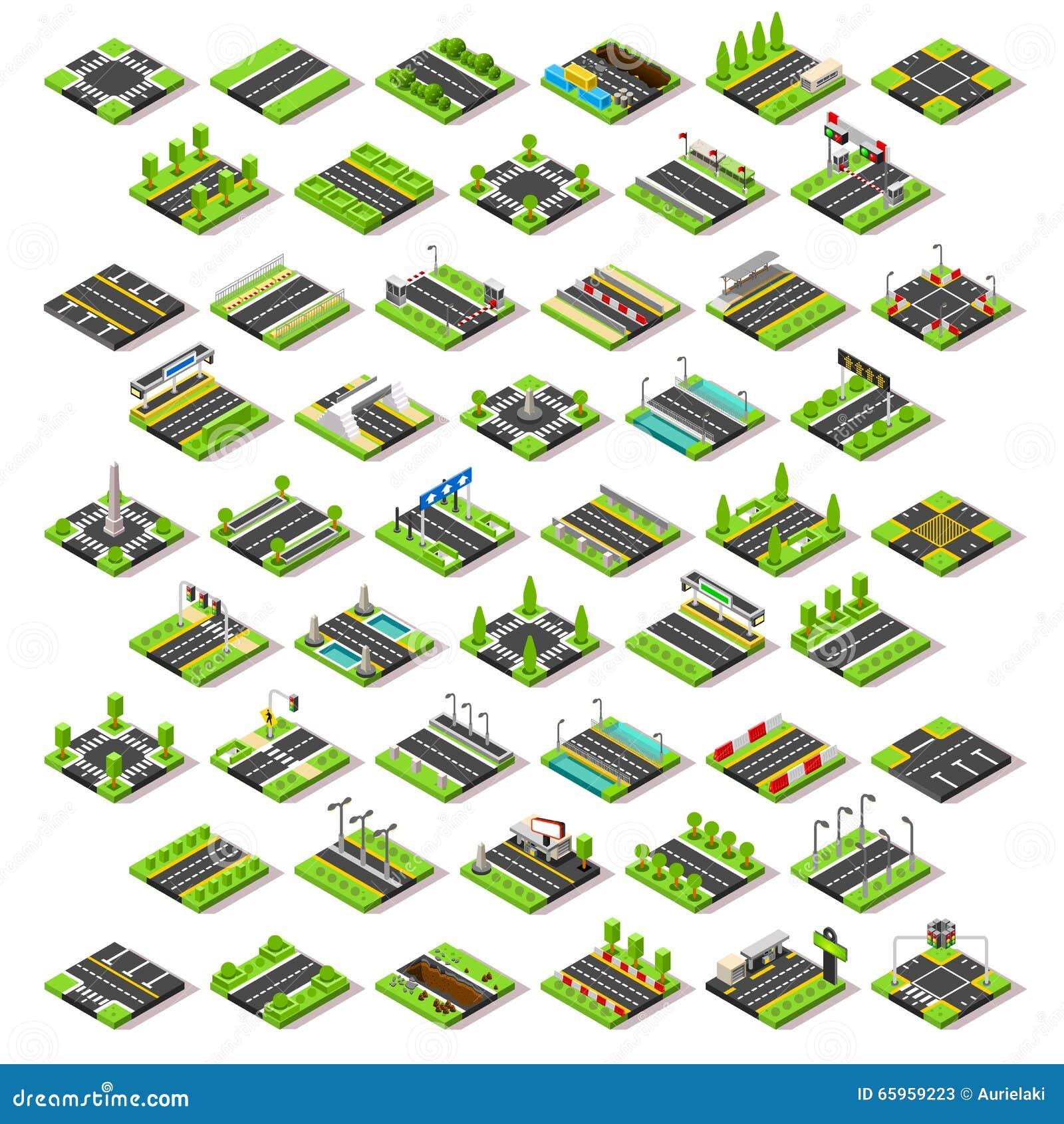 Ο χάρτης πόλεων έθεσε 02 κεραμίδια Isometric