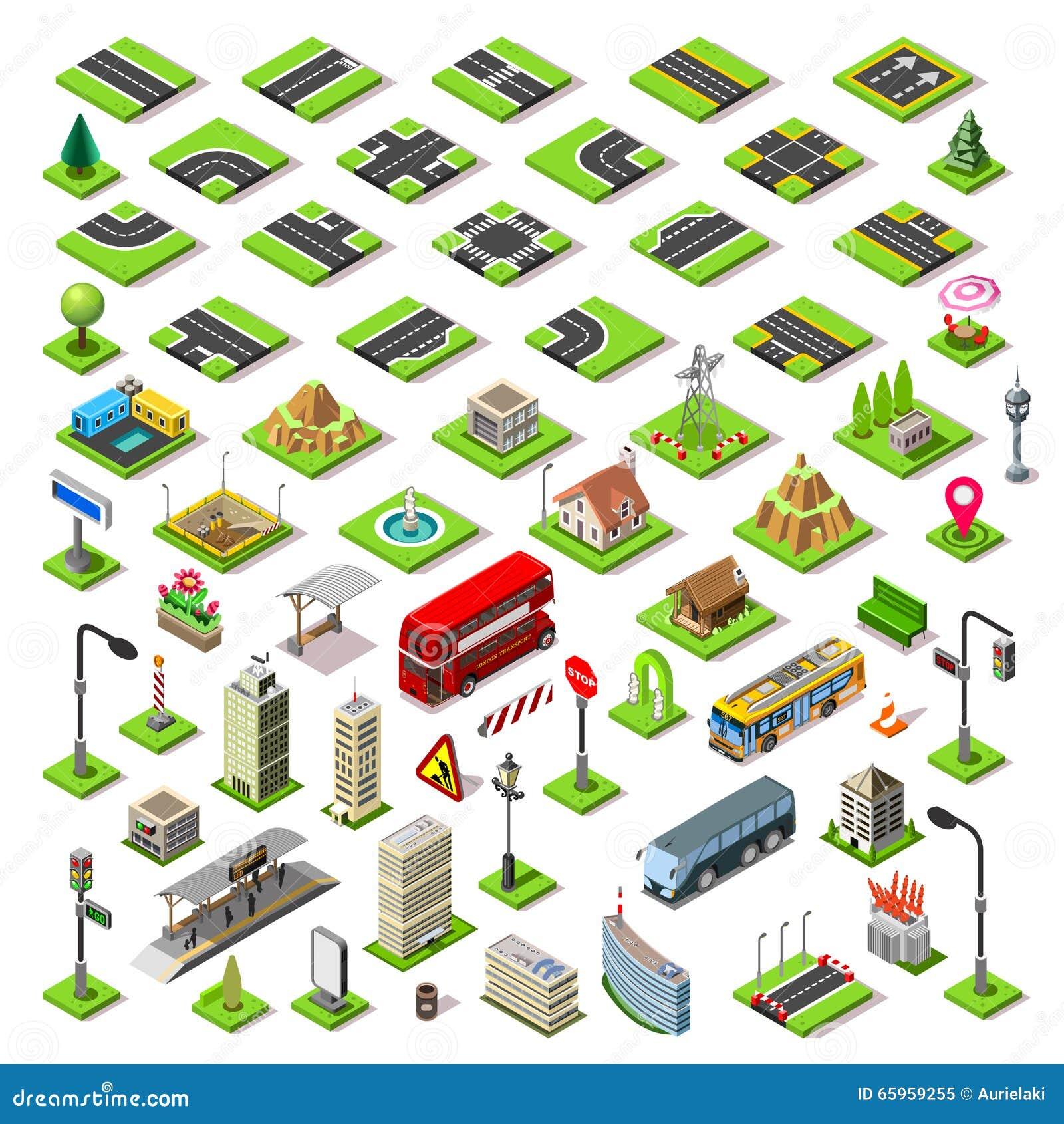 Ο χάρτης πόλεων έθεσε 01 κεραμίδια Isometric
