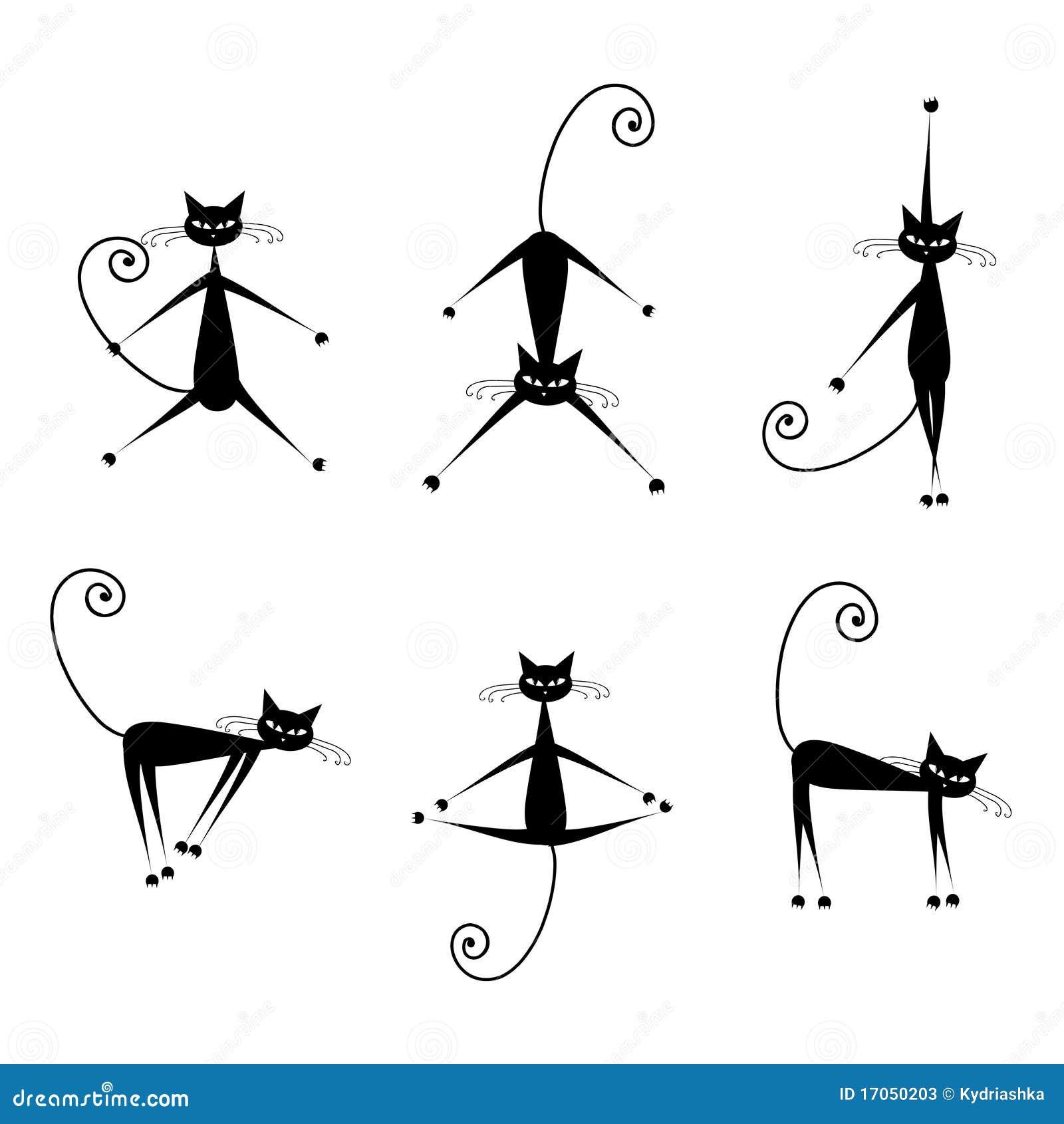 Ο χαριτωμένος Μαύρος σκιαγραφιών γατών για το σχέδιό σας