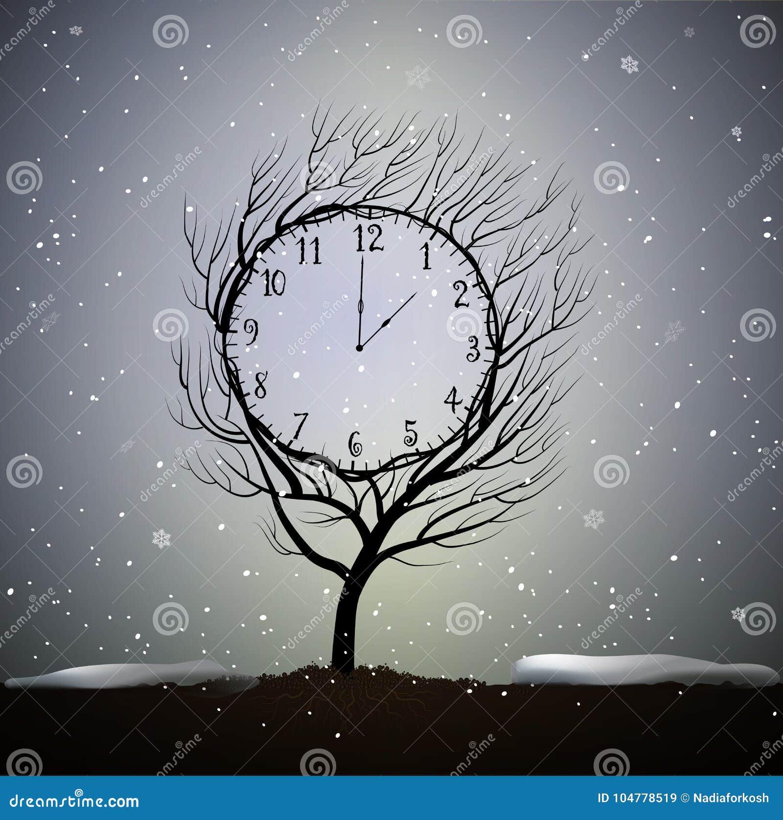 Ο χειμώνας, δέντρο μοιάζει με το χειμερινό ρολόι, 5 λεπτά στον παγωμένο καιρό, μαγική ανάπτυξη δέντρων ρολογιών στο χώμα σε όμορφ