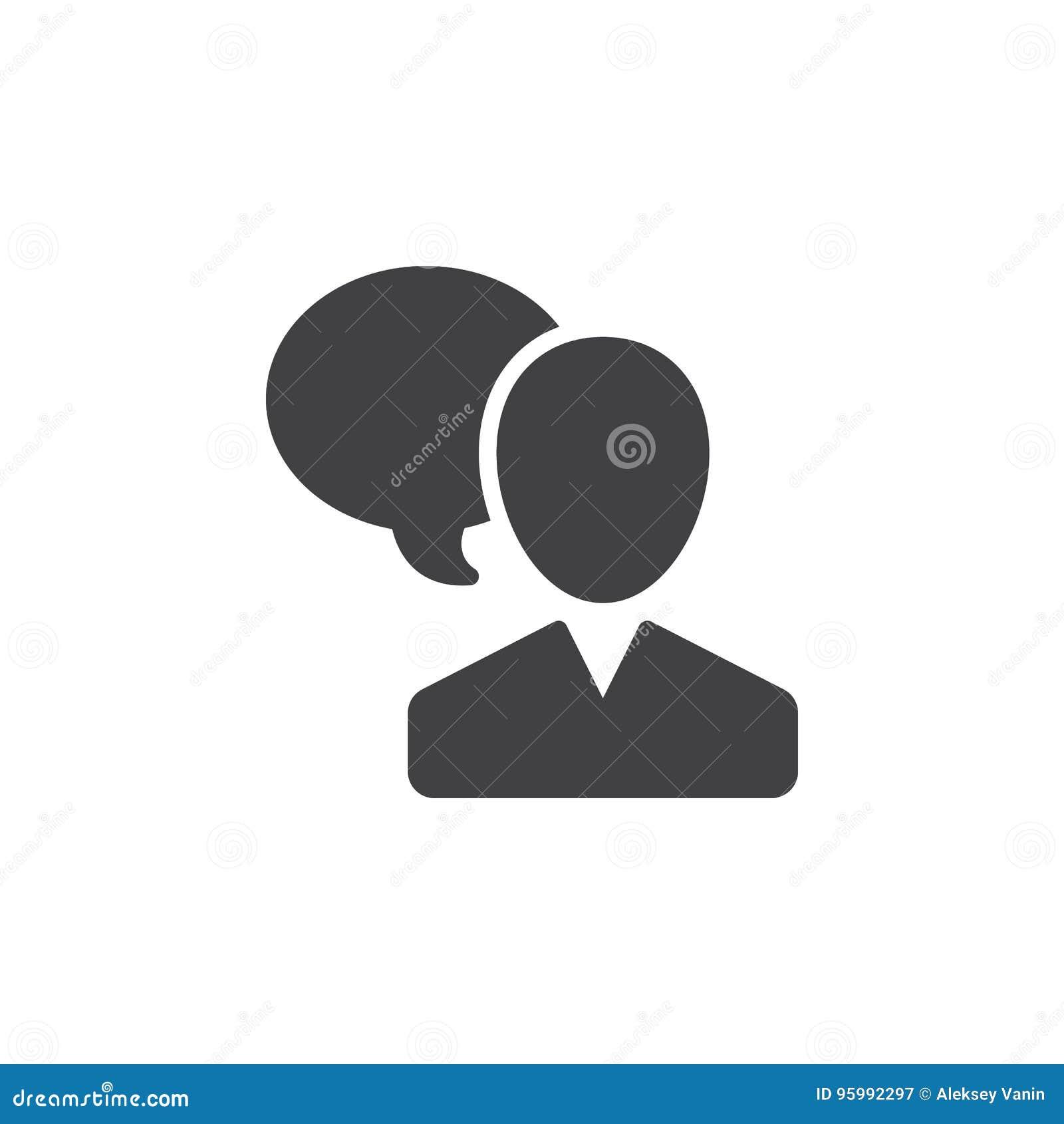 Ο χρήστης και η λεκτική φυσαλίδα, διάνυσμα εικονιδίων ομιλίας προσώπων, γέμισαν το επίπεδο σημάδι, στερεό εικονόγραμμα που απομον