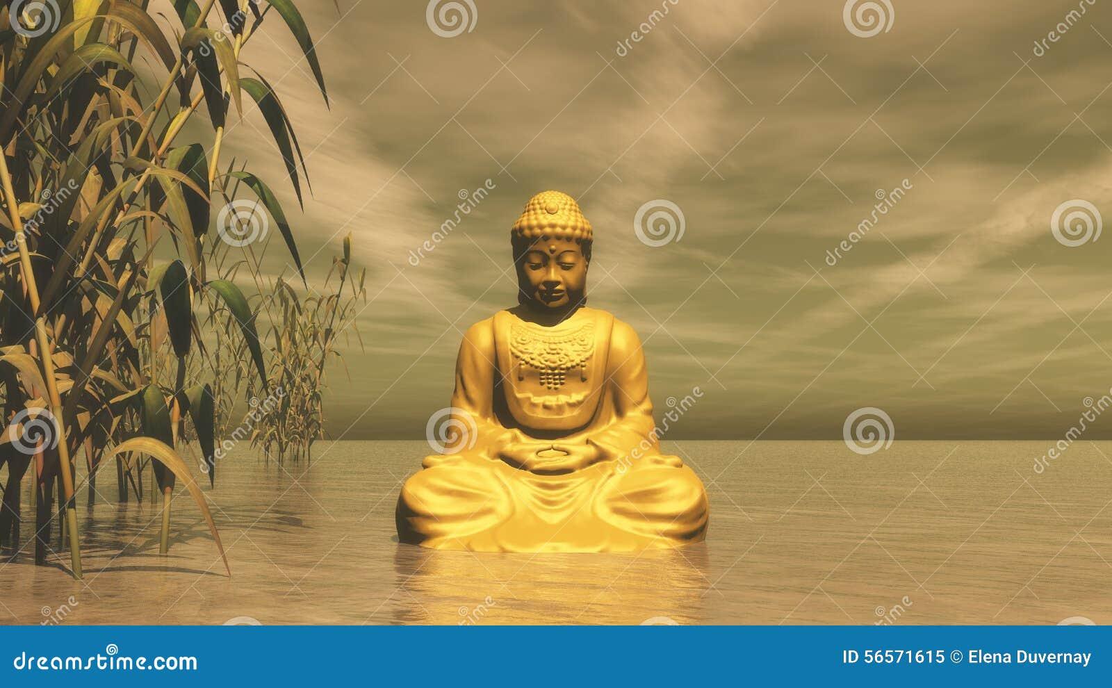 Download Ο χρυσός Βούδας - τρισδιάστατος δώστε Απεικόνιση αποθεμάτων - εικονογραφία από γραφικός, ουρανός: 56571615