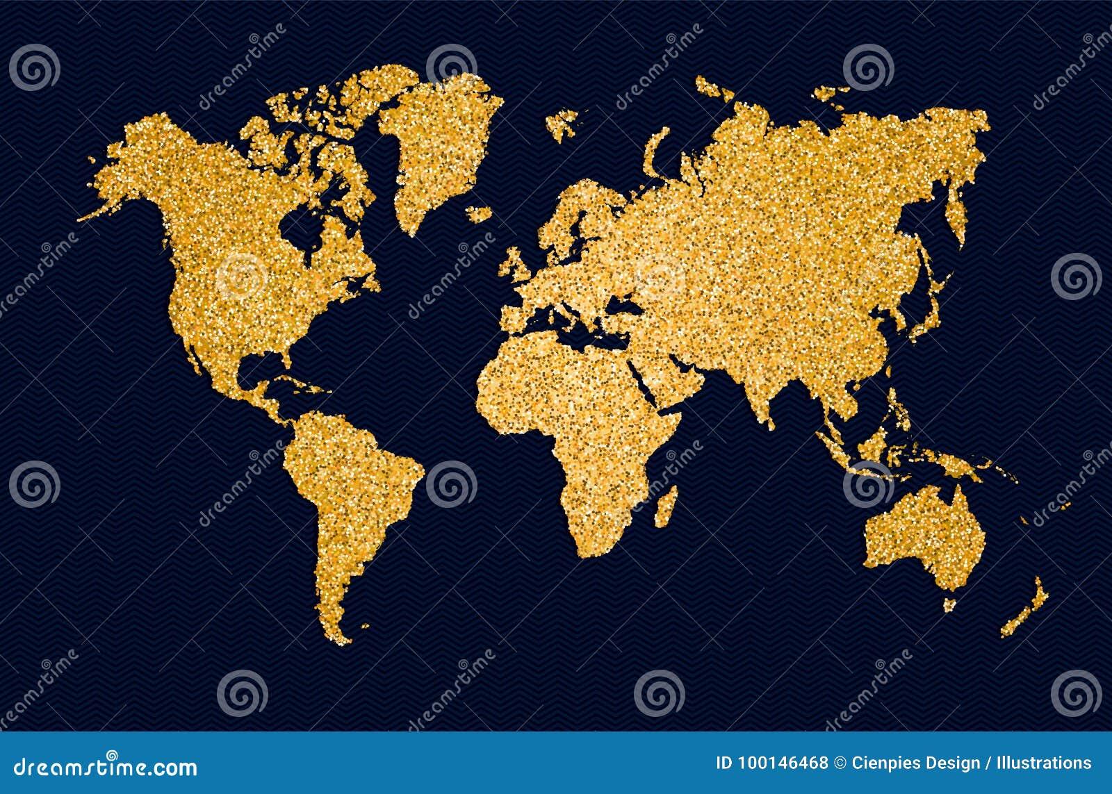 Ο χρυσός παγκόσμιων χαρτών ακτινοβολεί απεικόνιση έννοιας τέχνης
