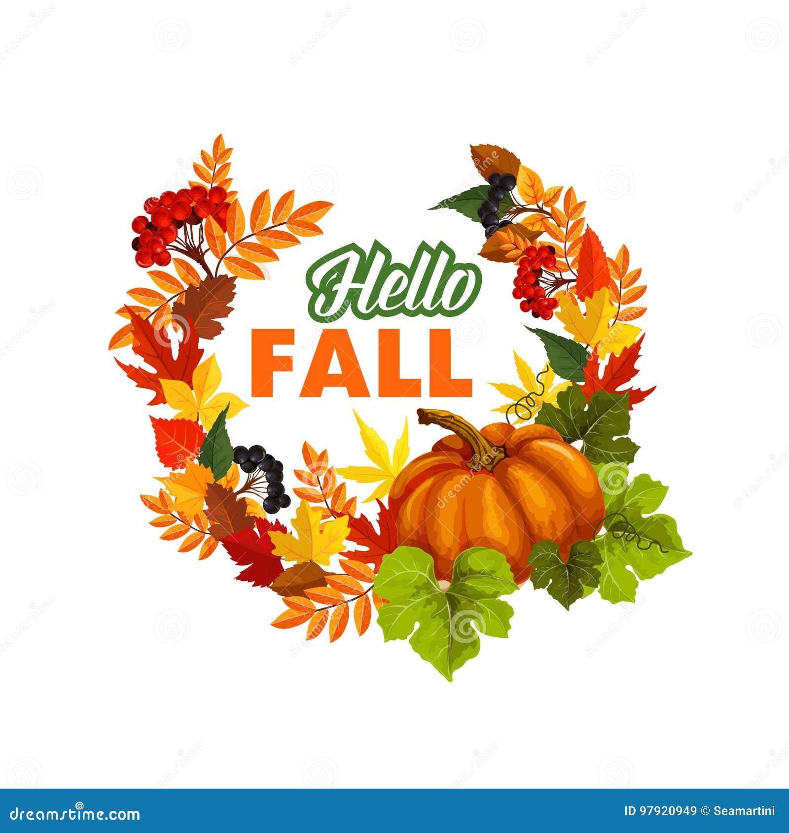 Ο χρόνος φθινοπώρου γειά σου πέφτει διανυσματική αφίσα χαιρετισμού