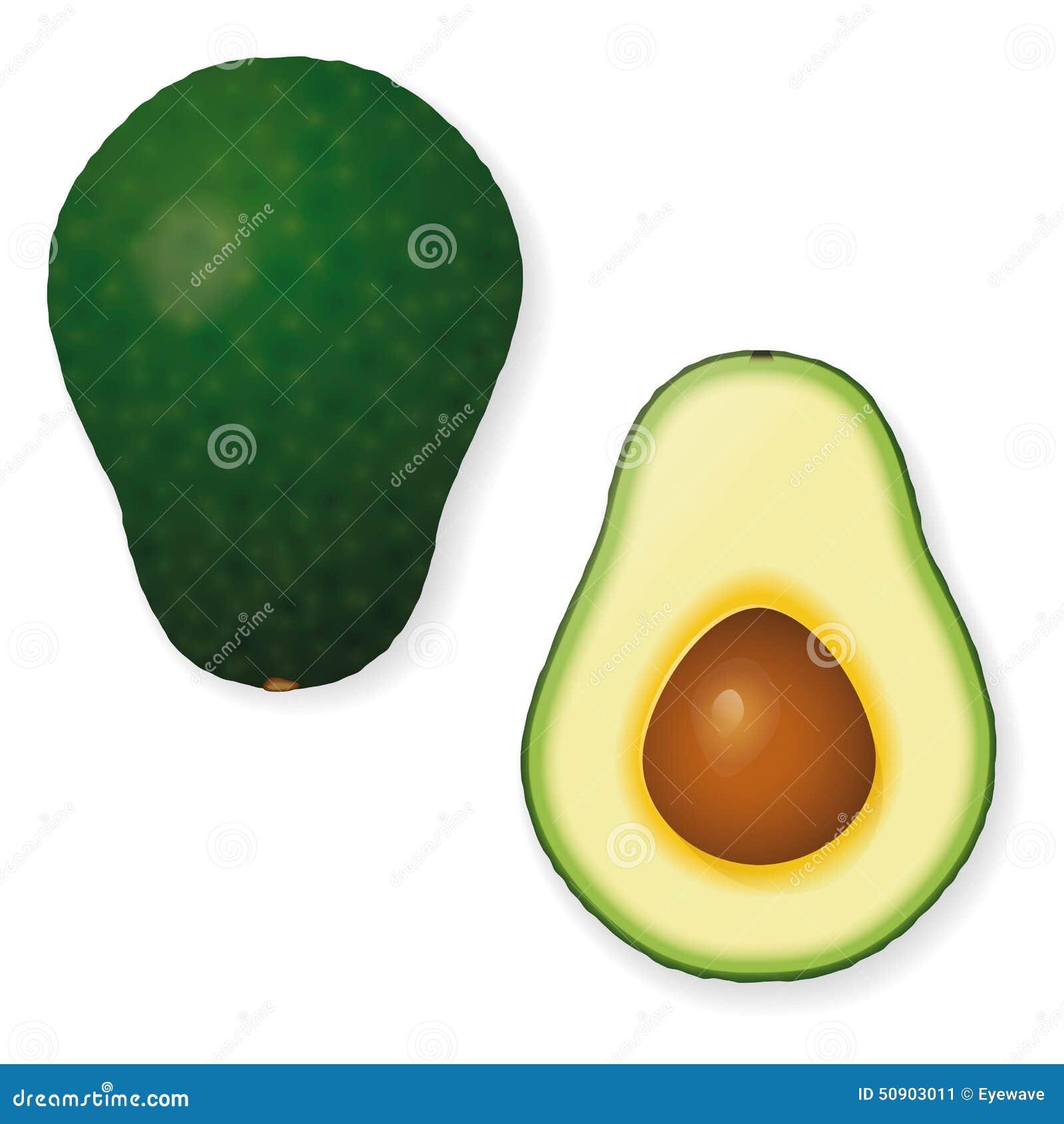 Ολόκληρο και διχοτομημένο διανυσματικό εικονίδιο φρούτων αβοκάντο