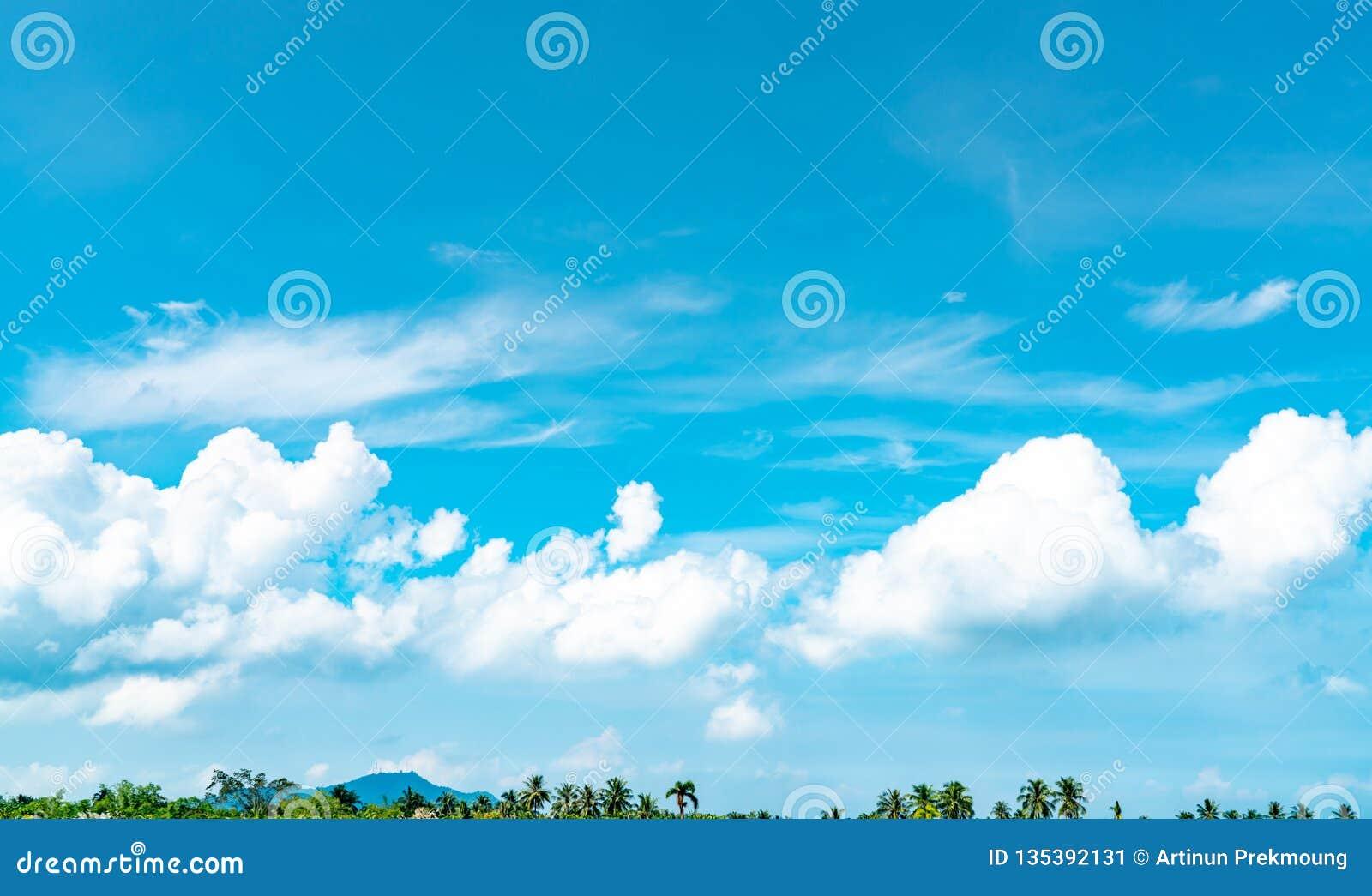 Ο όμορφος μπλε ουρανός και ο άσπρος σωρείτης καλύπτουν ενάντια στο δέντρο και το βουνό καρύδων στην ευτυχή και ψυχρή έξω ημέρα