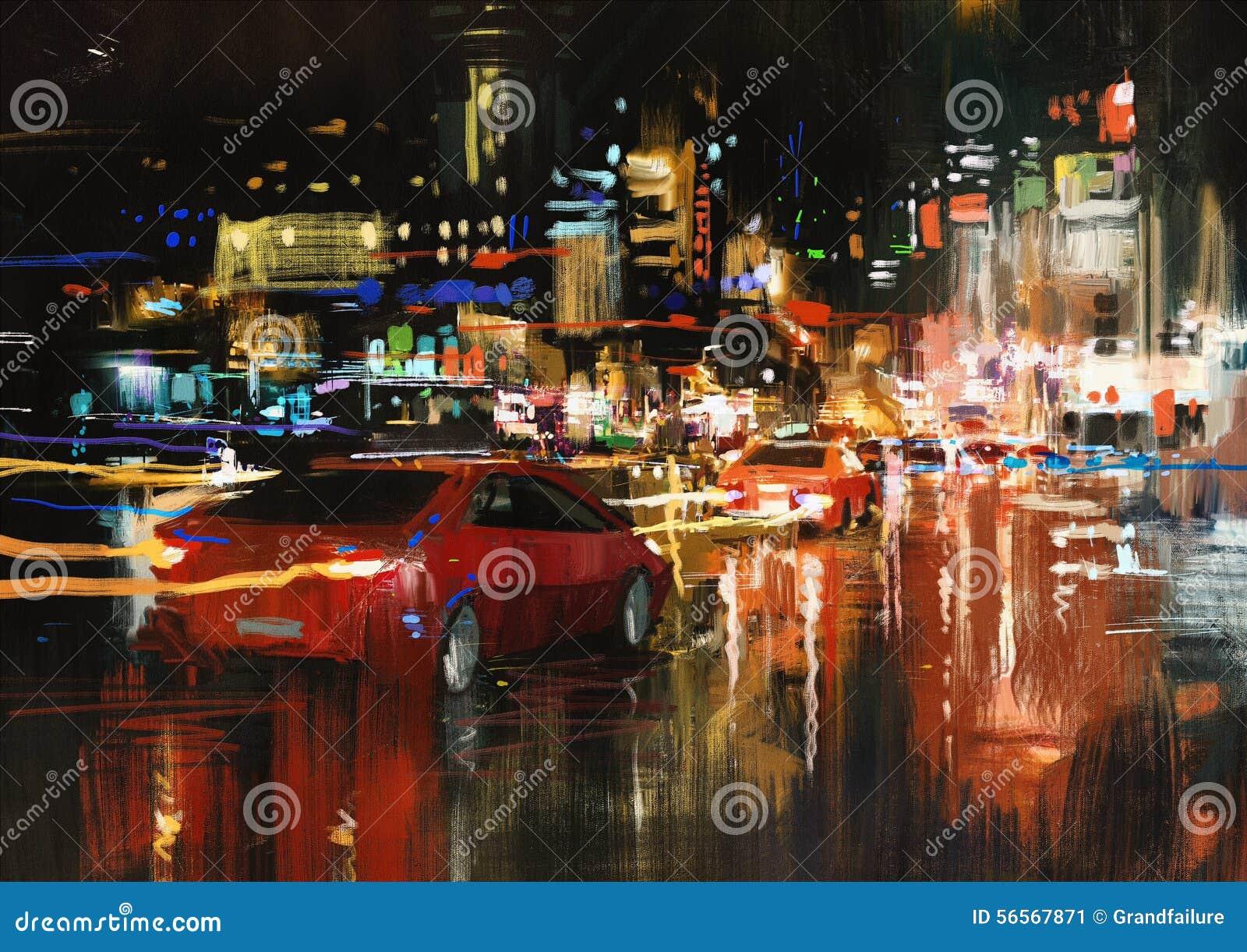 Download Οδός πόλεων τη νύχτα απεικόνιση αποθεμάτων. εικονογραφία από τοπίο - 56567871