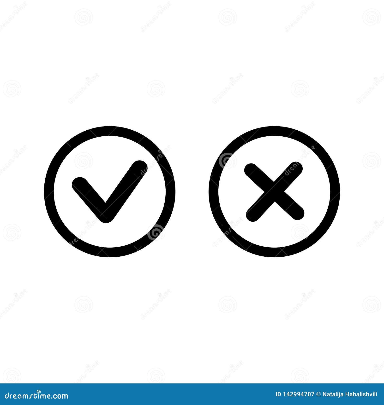 Ο checkmark-έλεγχος, Χ ή εγκρίνει αρνείται το εικονίδιο χρώματος τέχνης γραμμών για Apps και τους ιστοχώρους