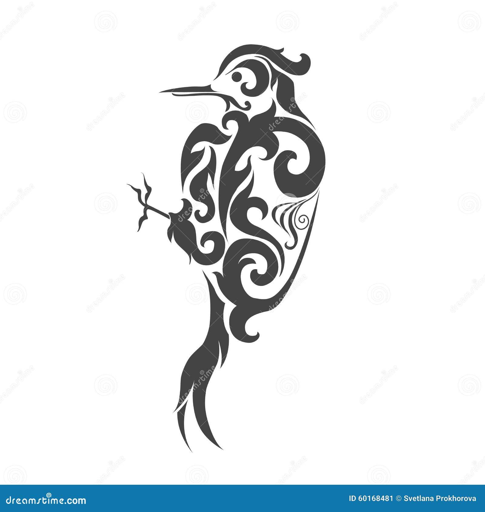纹身花刺鸟设计