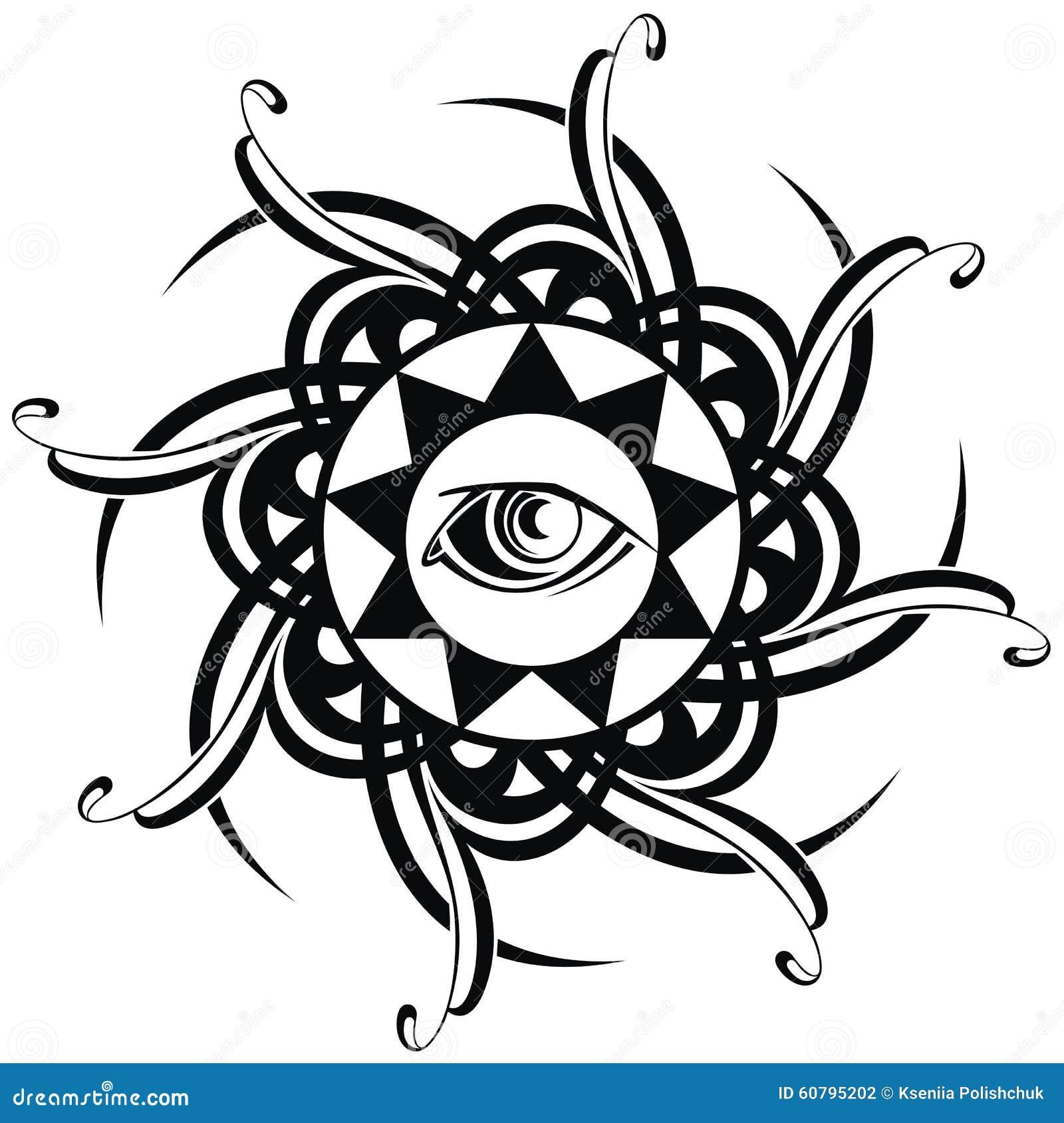 在黑色的纹身花刺装饰眼睛.