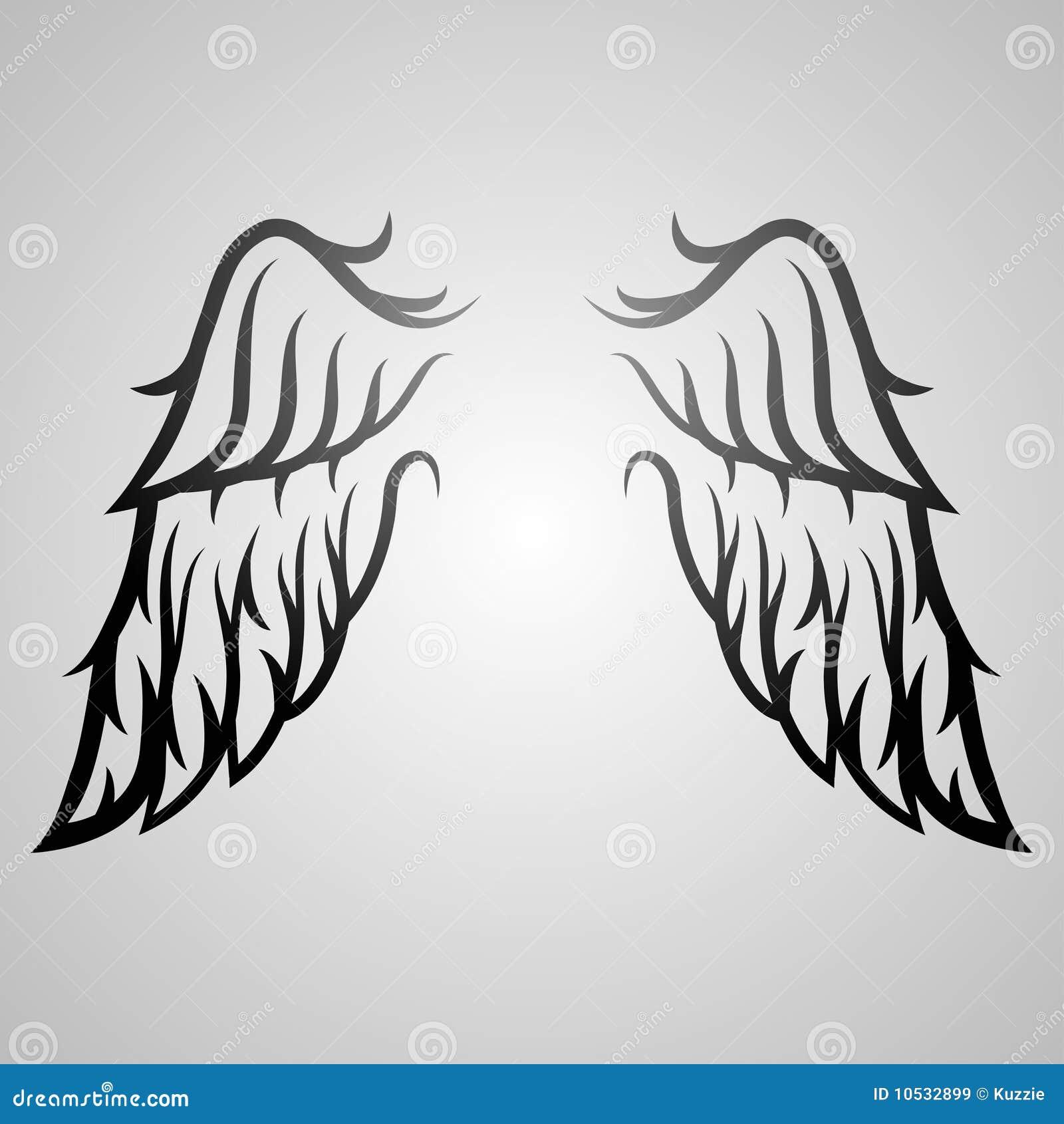 图象简单的纹身花刺翼.