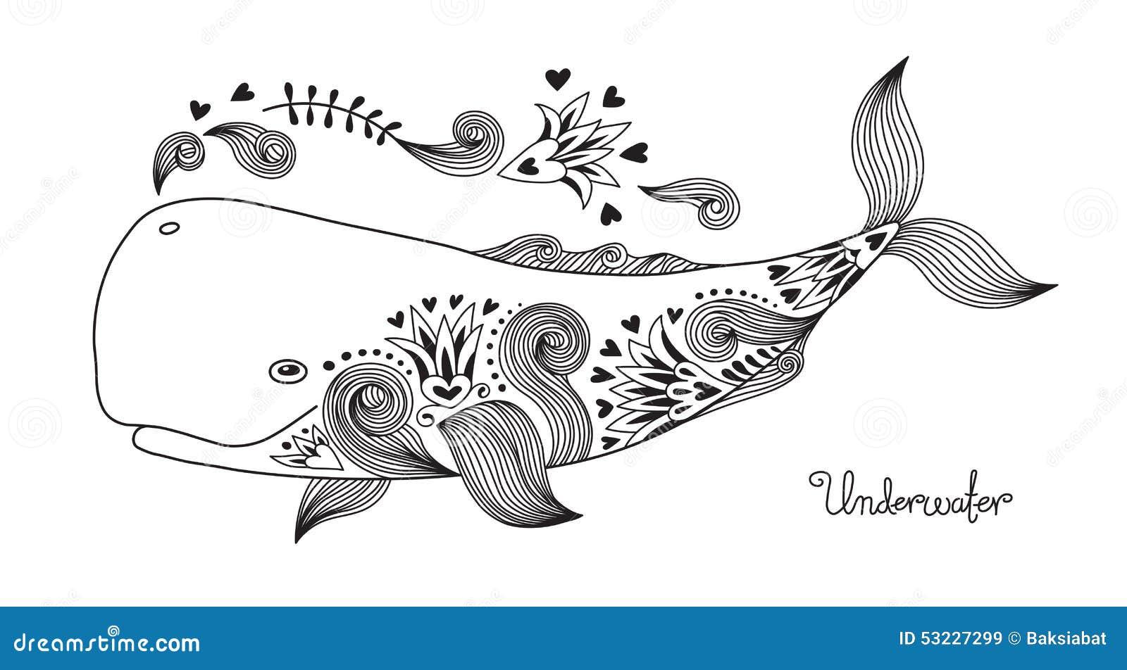 与样式的纹身花刺印刷品愉快的鲸鱼 也corel凹道例证向量.