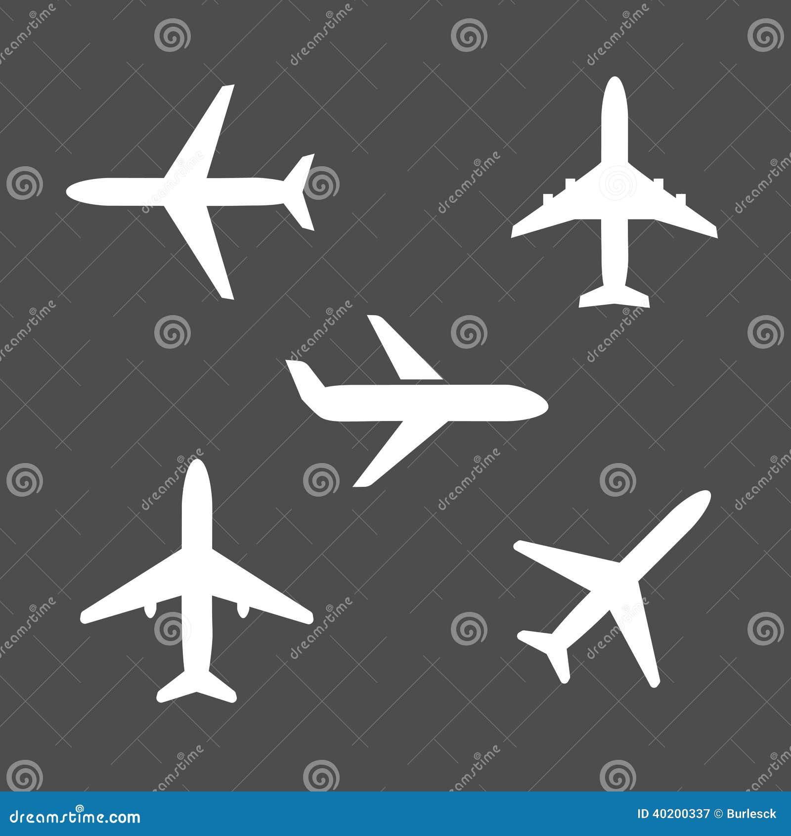 五个不同飞机剪影象