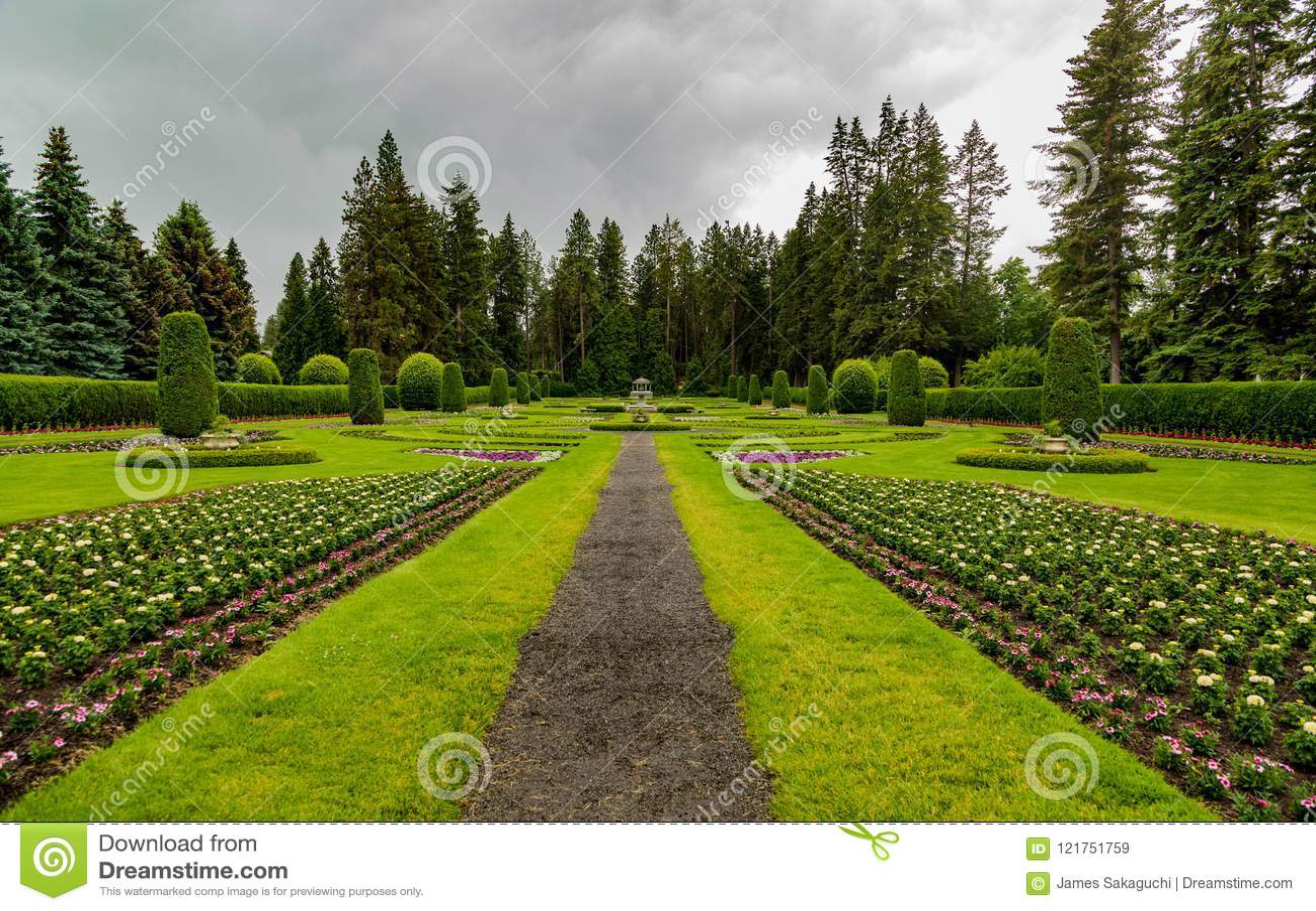 Πάρκο Manito τη νεφελώδη ημέρα στο Spokane