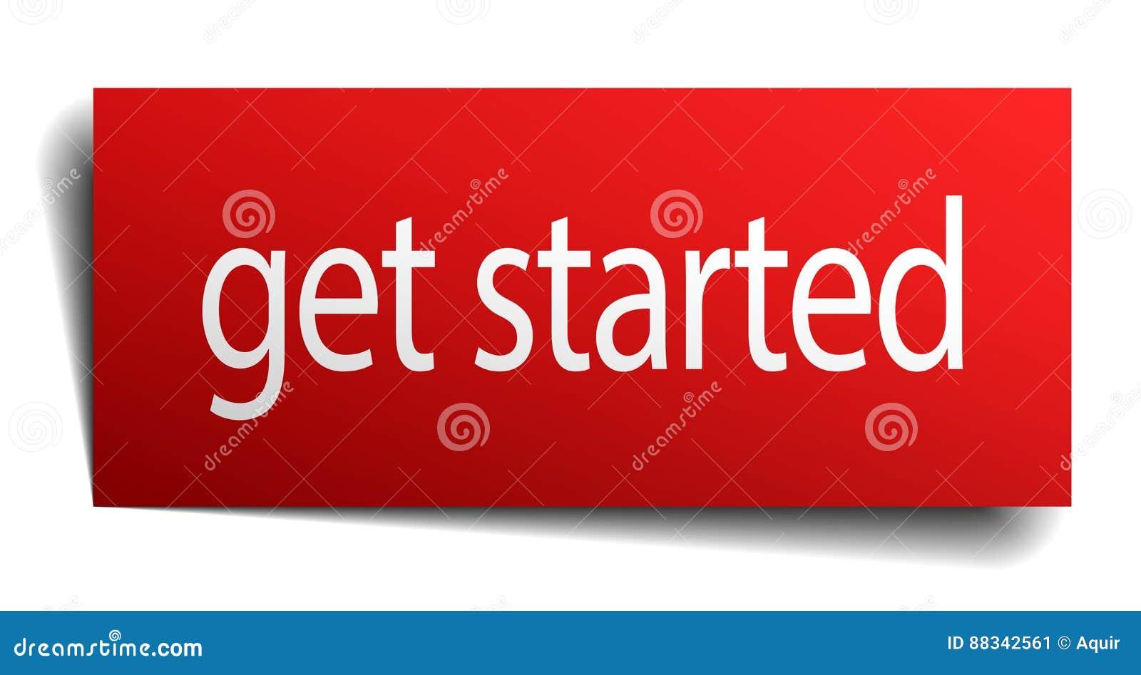 Πάρτε το αρχισμένο σημάδι εγγράφου κόκκινων τετραγώνων απομονωμένο