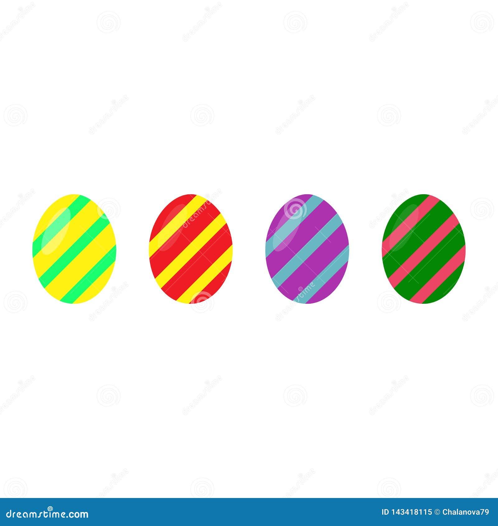 Πάσχα ευτυχές Σύνολο ζωηρόχρωμων αυγών Πάσχας σε ένα άσπρο υπόβαθρο Διακοπές άνοιξη επίσης corel σύρετε το διάνυσμα απεικόνισης Ε