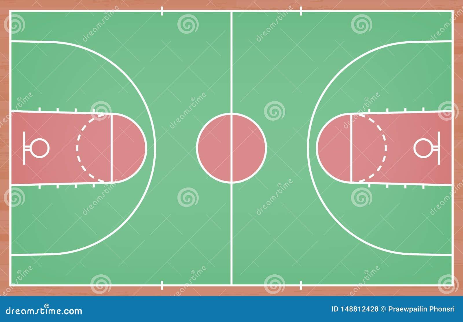 Πάτωμα γήπεδο μπάσκετ με τη γραμμή στο ξύλινο υπόβαθρο σύστασης r