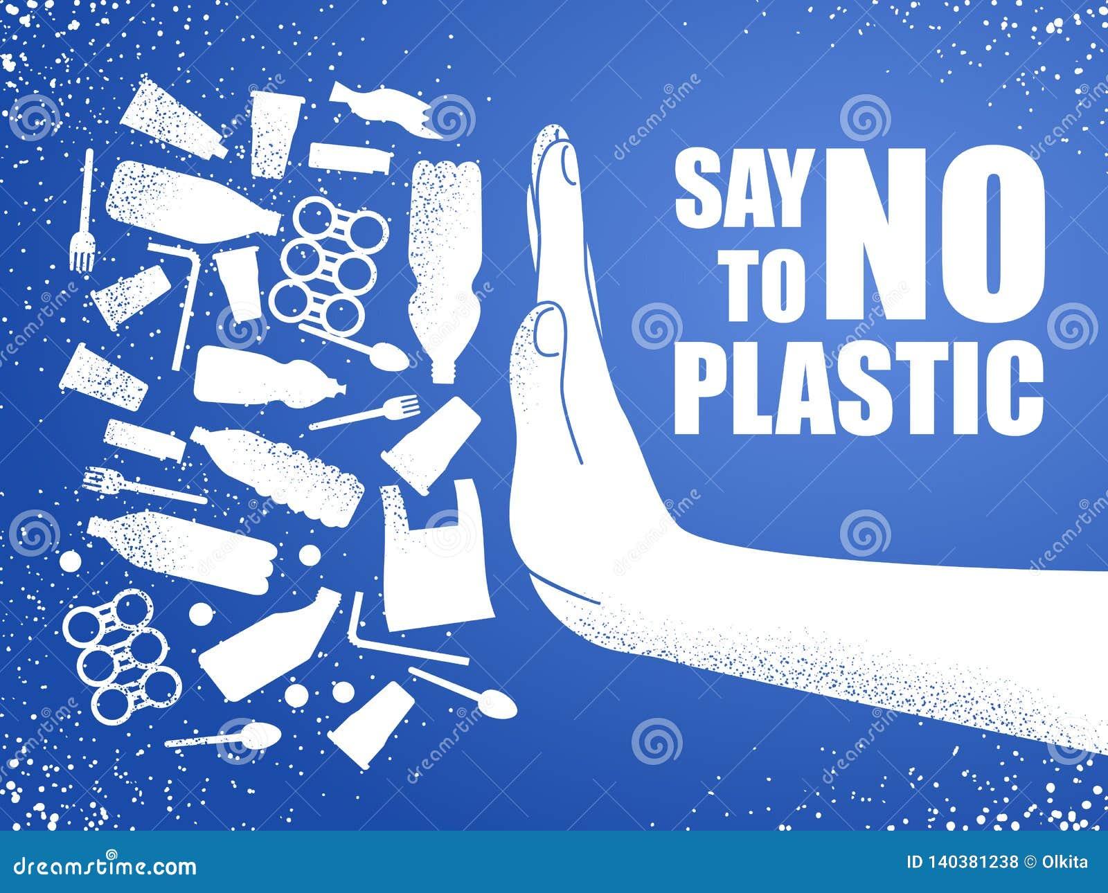 Πέστε το αριθ. στο πλαστικό Πλαστική ρύπανση προβλήματος οικολογική αφίσα Έμβλημα που αποτελείται από την άσπρη πλαστική τσάντα,