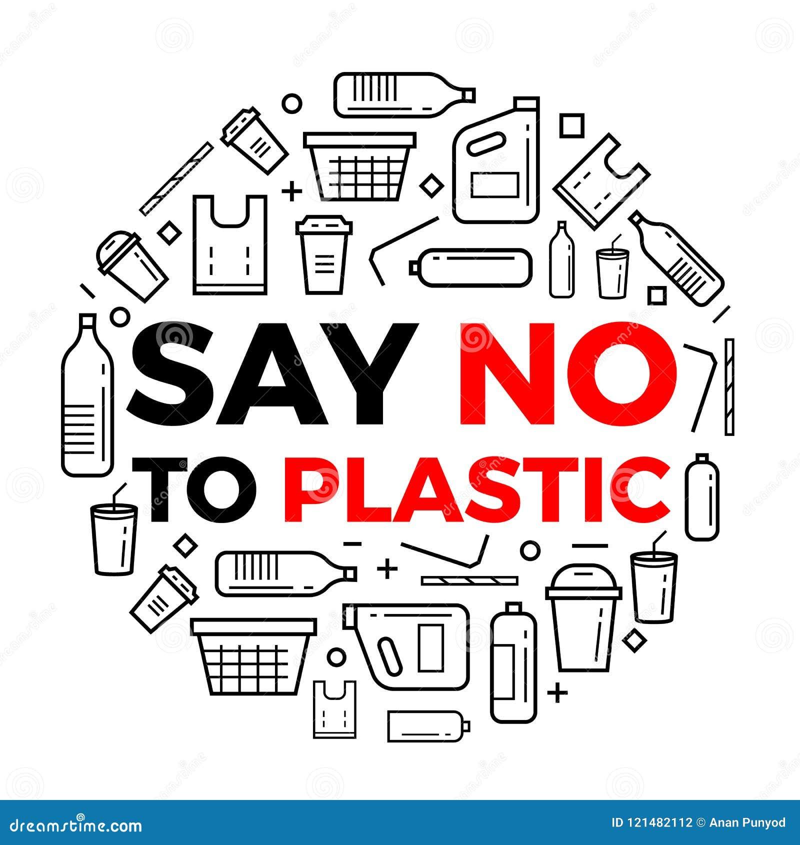 Πέστε το αριθ. στο σημάδι εικονιδίων γραμμών συσκευασίας κειμένων plastice και plastice γύρω από το διανυσματικό σχέδιο κύκλων