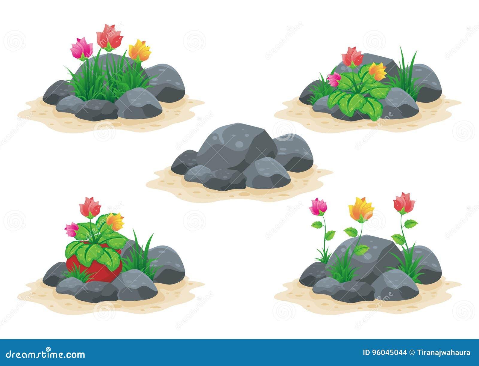 Πέτρινος/βράχος με τη διανυσματική συλλογή λουλουδιών