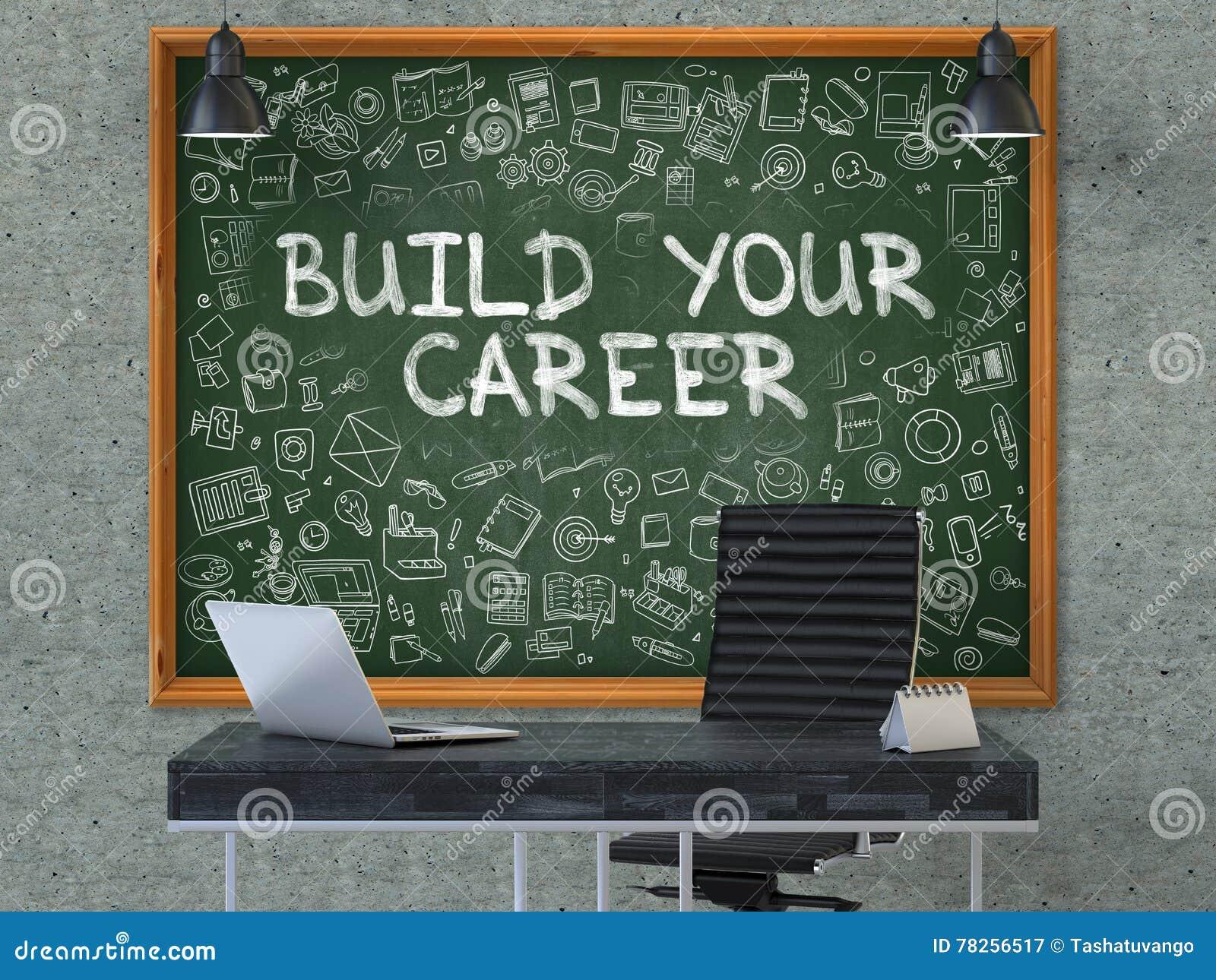 Πίνακας κιμωλίας στον τοίχο γραφείων με την κατασκευή η έννοια σταδιοδρομίας σας τρισδιάστατος