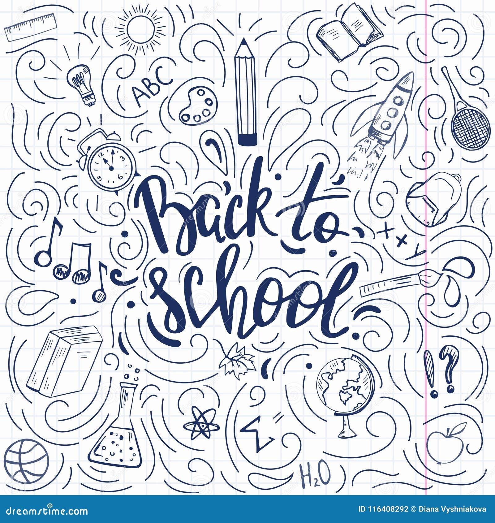 Πίσω στην αφίσα σχολικού doodle ύφους
