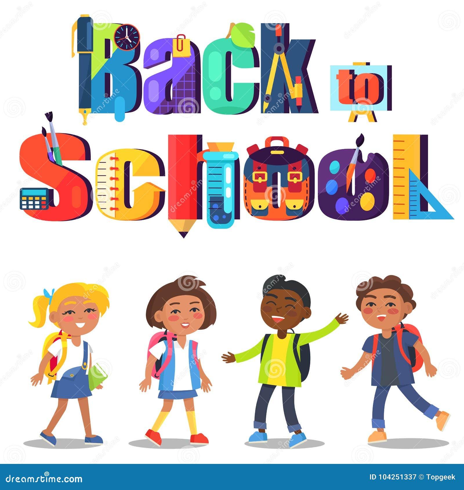 Πίσω στη σχολική αφίσα με την επιγραφή και τα παιδιά