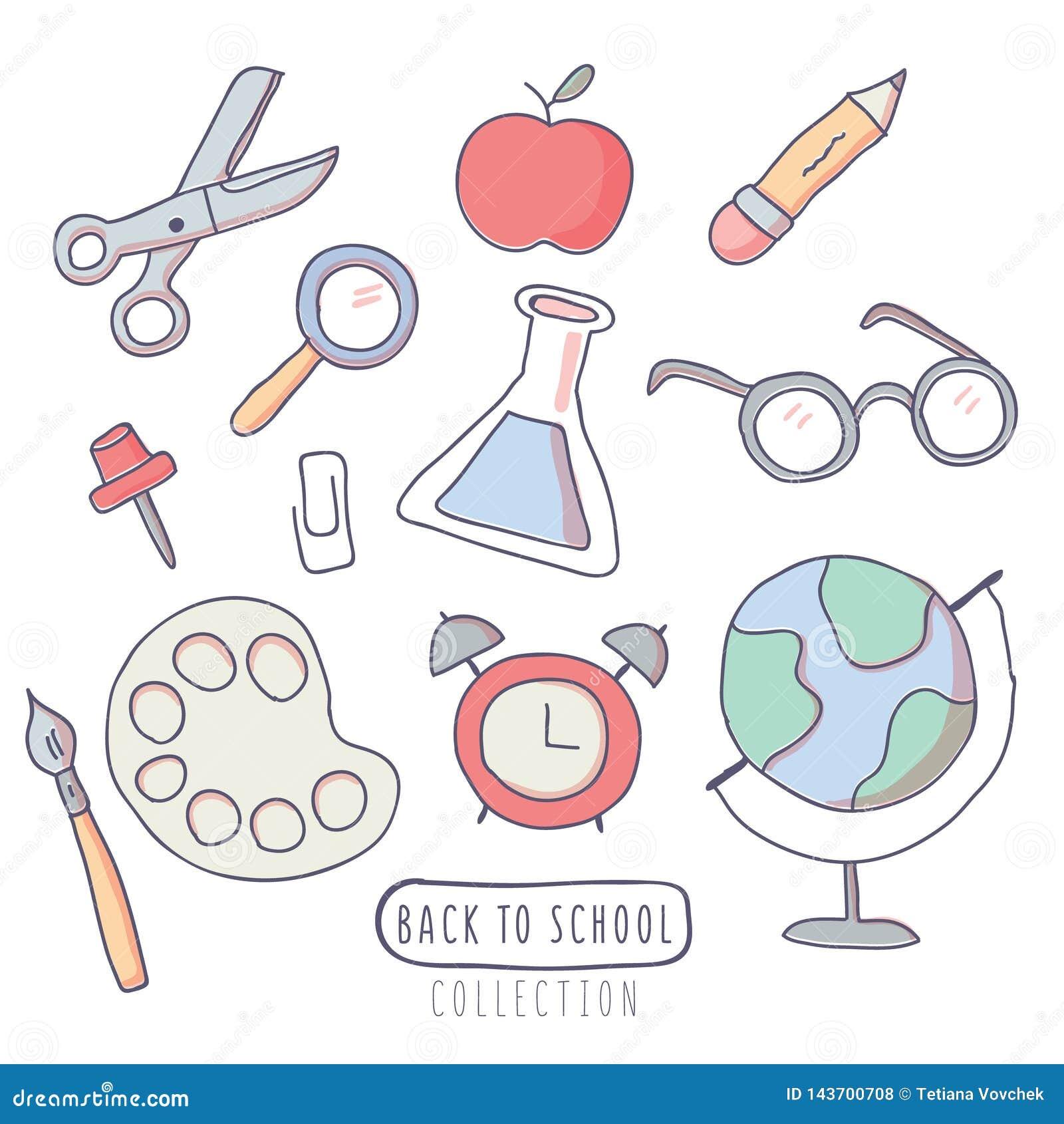 Πίσω στις σχολικές αυτοκόλλητες ετικέττες που τίθενται με τις σχολικές προμήθειες