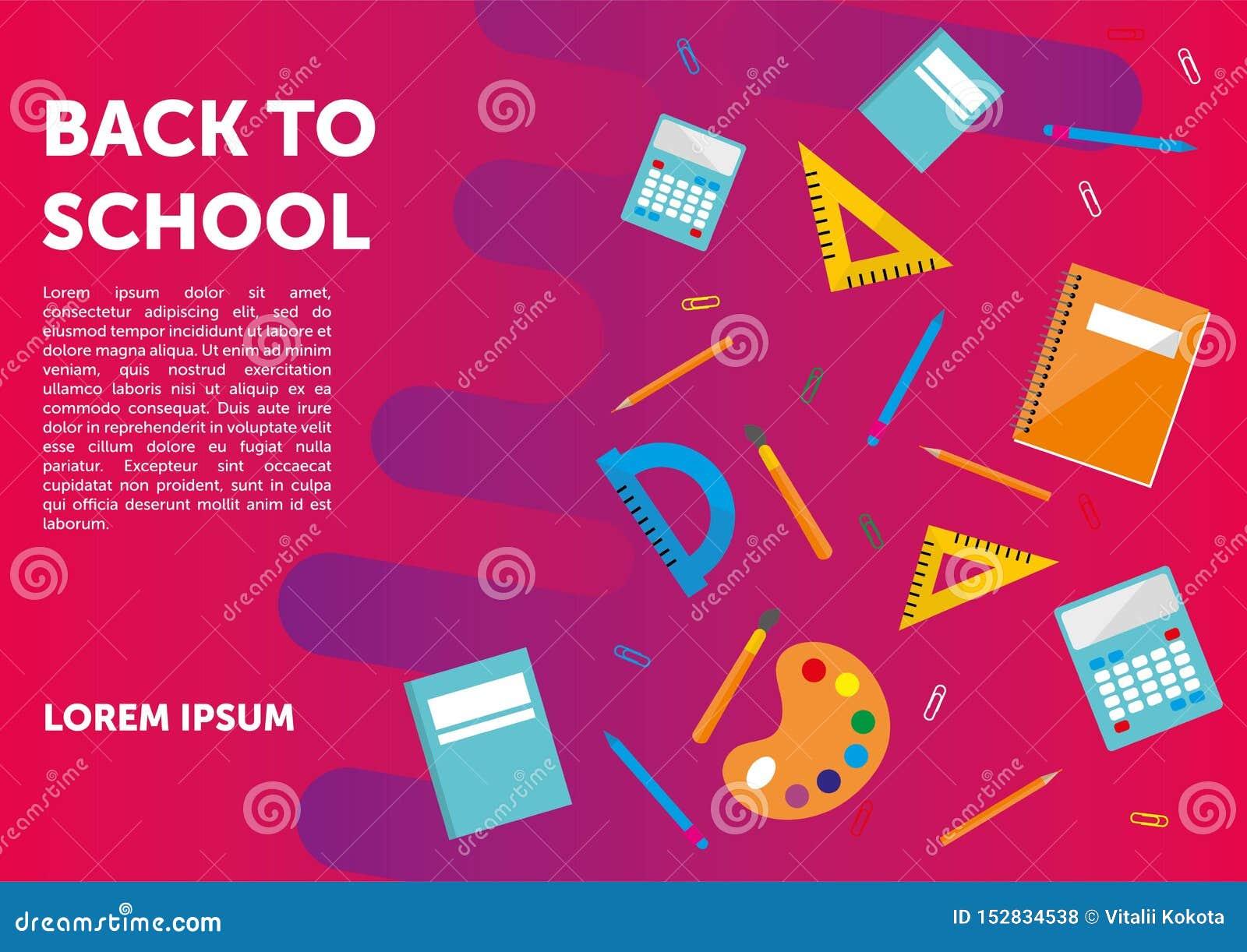 Πίσω στο σχολικό έμβλημα, αφίσα, επίπεδο σχέδιο ζωηρόχρωμο, διάνυσμα backgound ιστοσελίδας