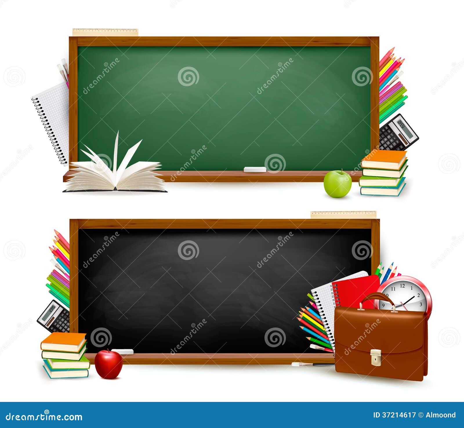 Πίσω στο σχολείο. Δύο εμβλήματα με τις σχολικές προμήθειες.