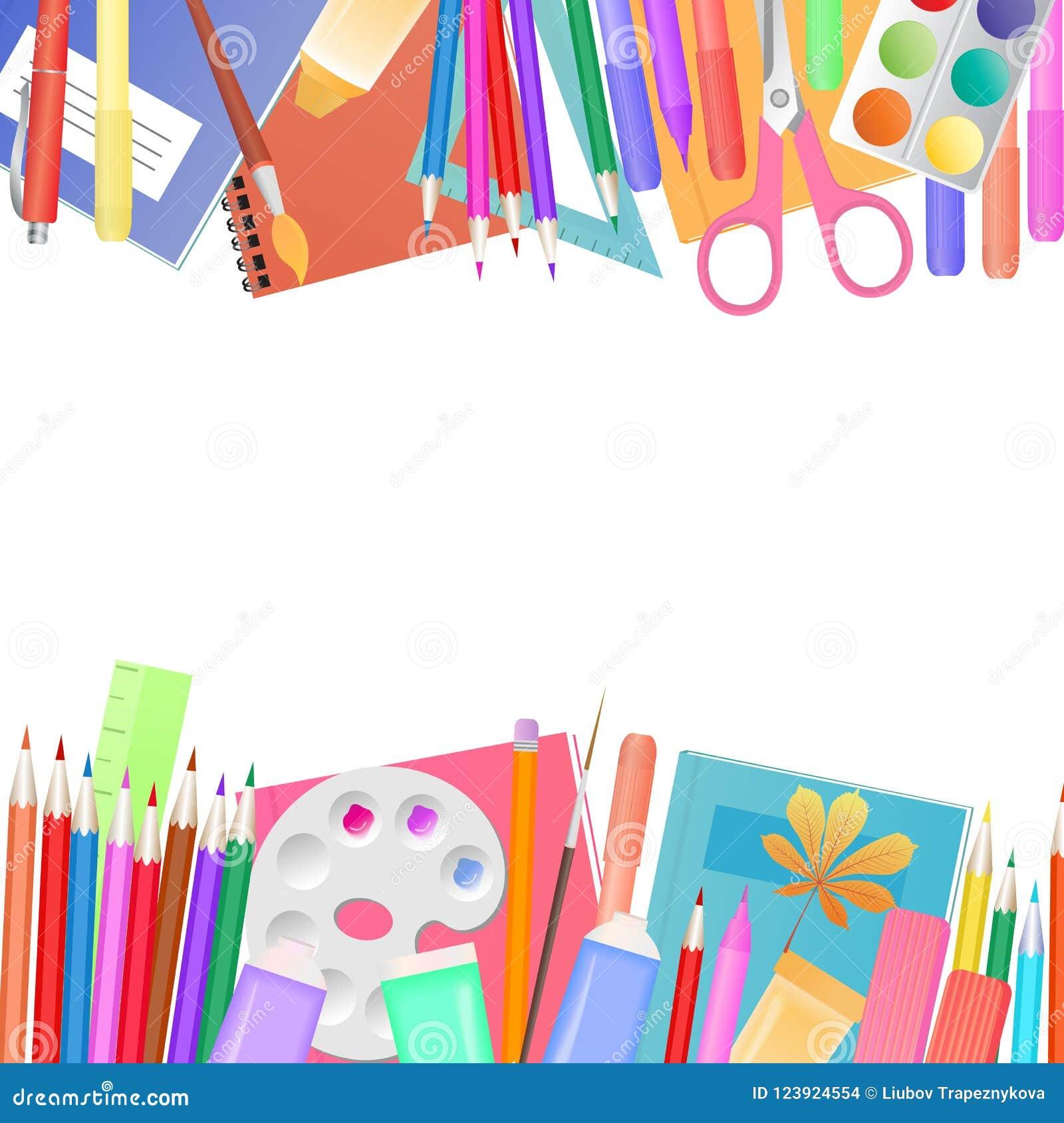 πίσω σχολείο έννοιας Ένα σύνολο θεμάτων για την εκμάθηση και τη δημιουργικότητα παιδιών ` s