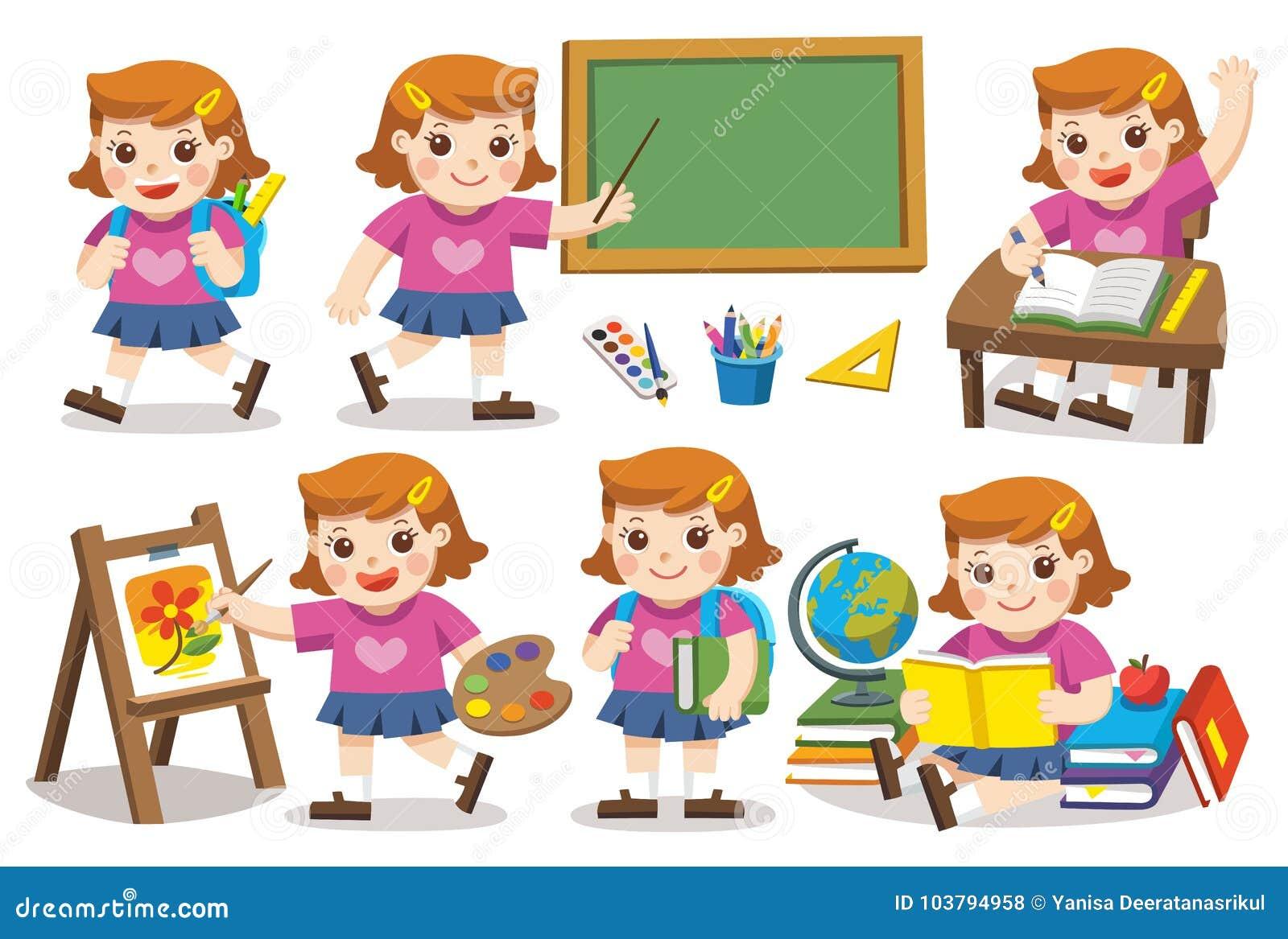 πίσω σχολείο Χαριτωμένη μελέτη κοριτσιών στο σχολείο