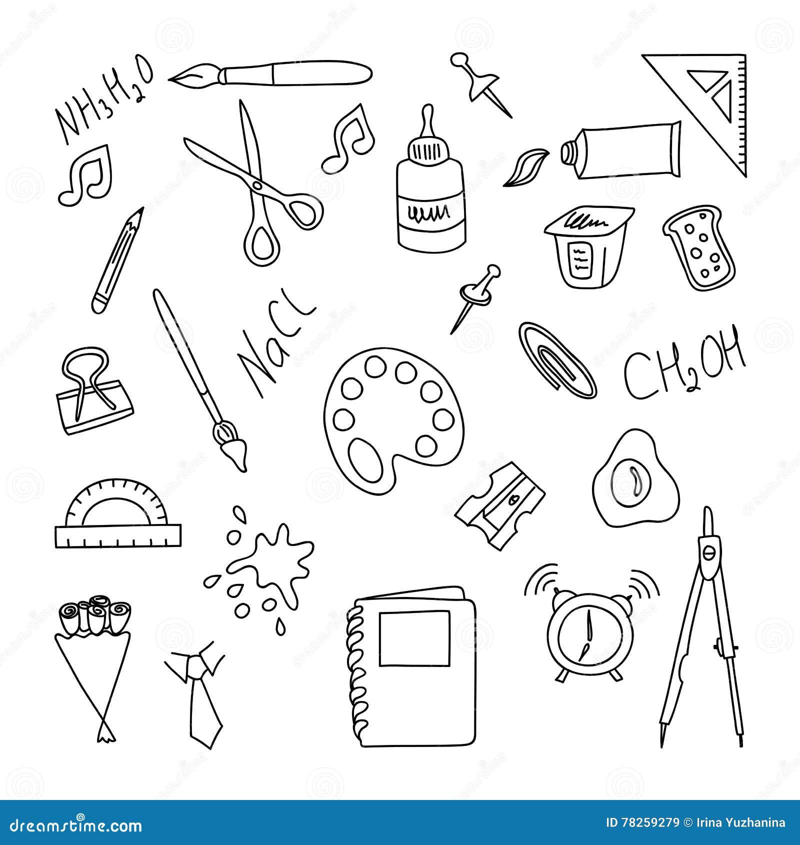 πίσω σχολείο Σύνολο doodle elenents Το χέρι σύρει το equpment γραφείων