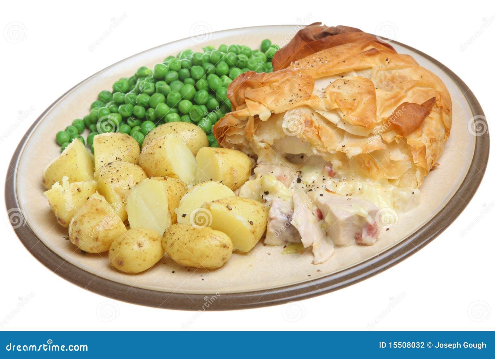 πίτα ζύμης filo κοτόπουλου μπέϊκον
