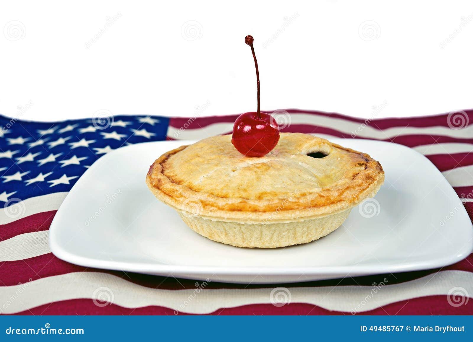 Πίτα κερασιών σε μια αμερικανική σημαία