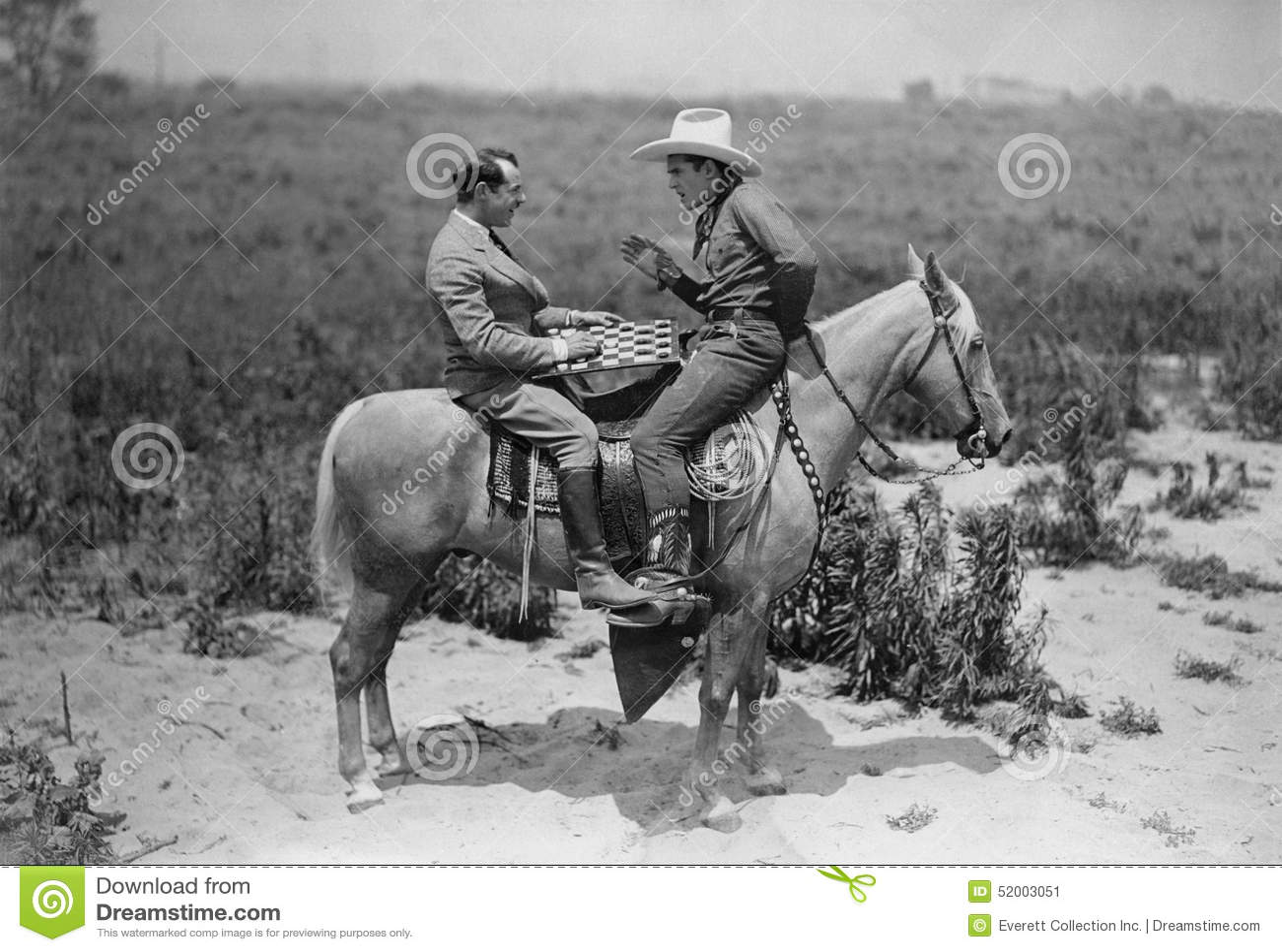 Παίζοντας ελεγκτές κάουμποϋ και επιχειρηματιών στην πλάτη αλόγου (όλα τα πρόσωπα που απεικονίζονται δεν ζουν περισσότερο και κανέ