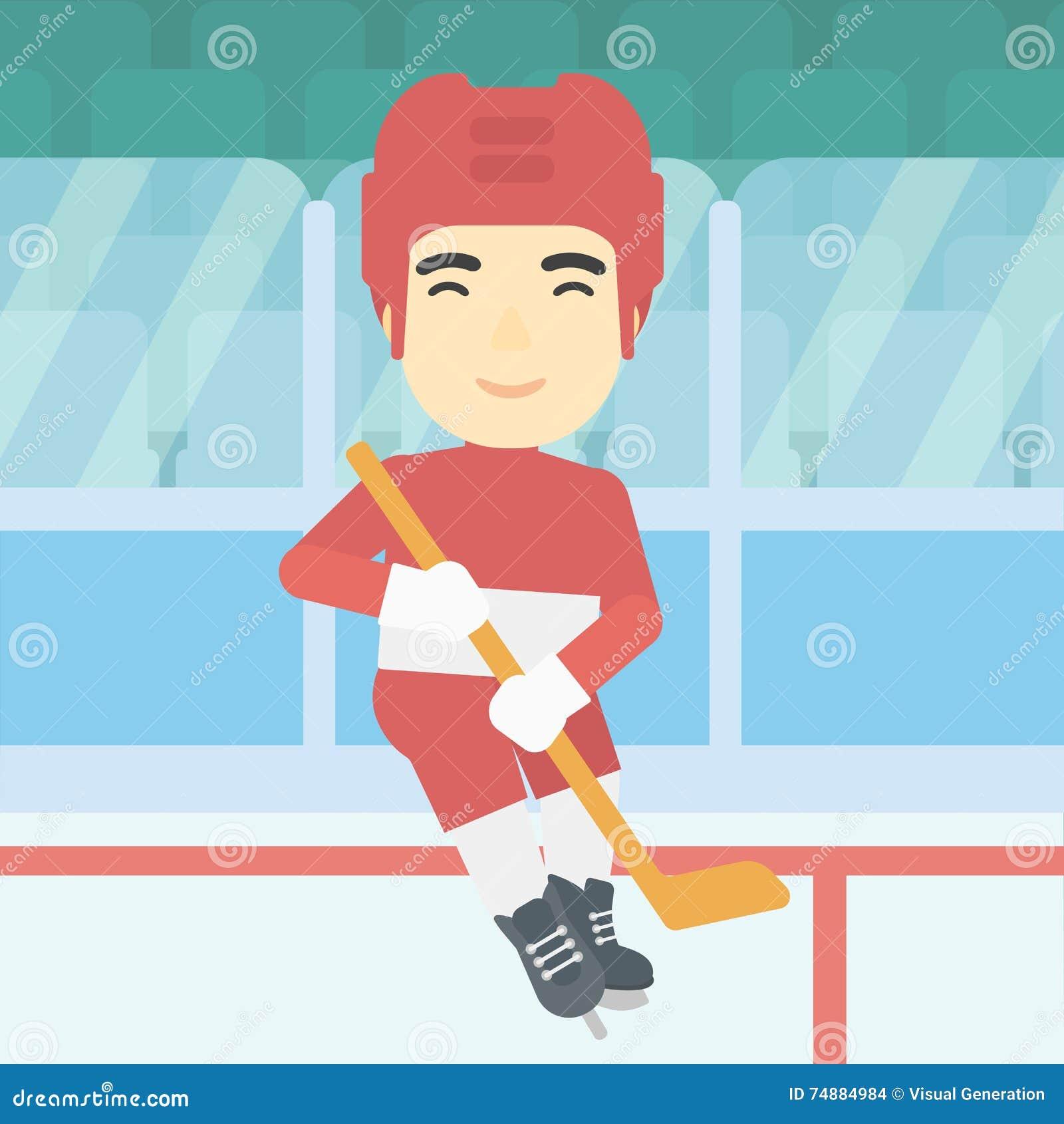 Παίκτης χόκεϋ πάγου με τη διανυσματική απεικόνιση ραβδιών