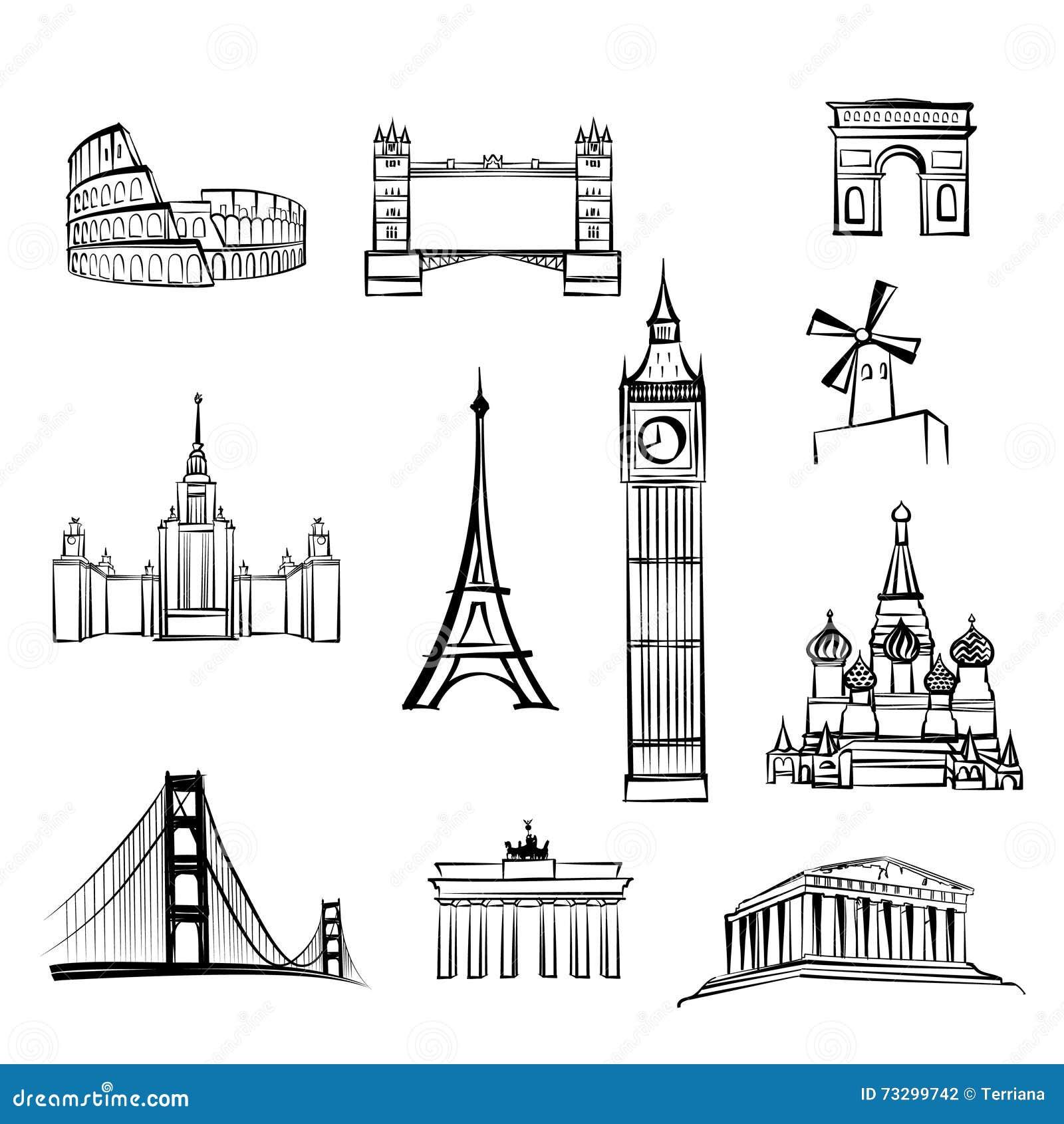 Παγκοσμίως διάσημο εικονίδιο καθορισμένο Sightseein θέσεων ταξιδιού ορόσημων πόλεων