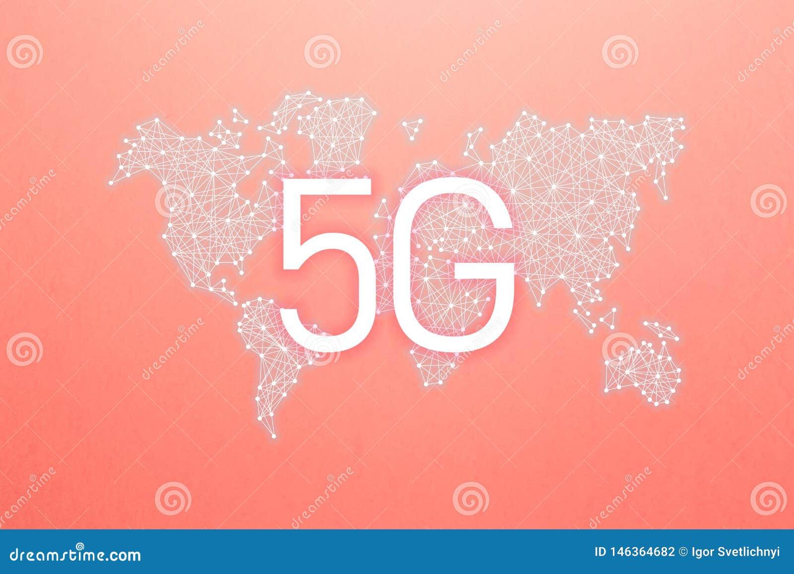 Παγκόσμια κοινότητα και δίκτυο 5G κινητή ασύρματη επιχειρησιακή έννοια Διαδικτύου δικτύων